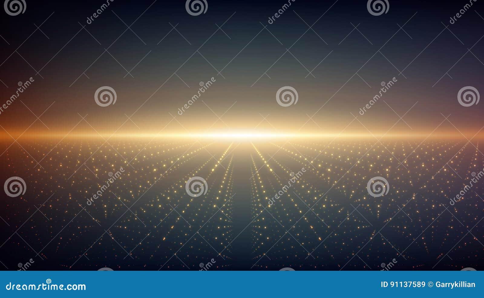 Abstracte vectoroneindigheidsachtergrond Gloeiende sterren met illusie van diepte en perspectief