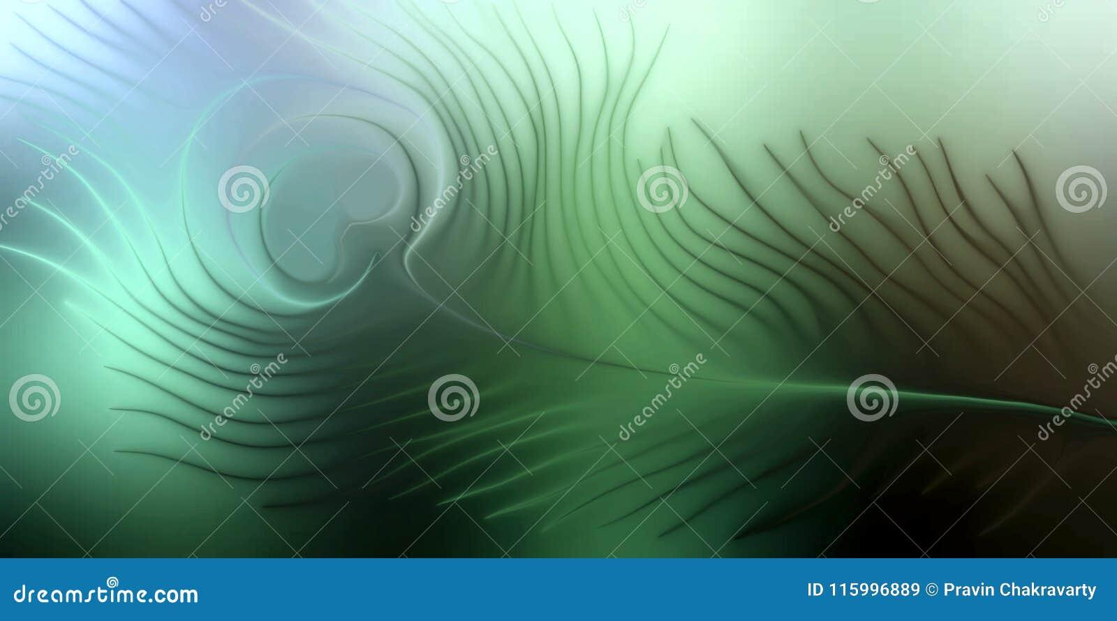Abstracte vectorpauwveer met kleurrijke in de schaduw gestelde golvende achtergrond met verlichtingseffect, vectorillustratie