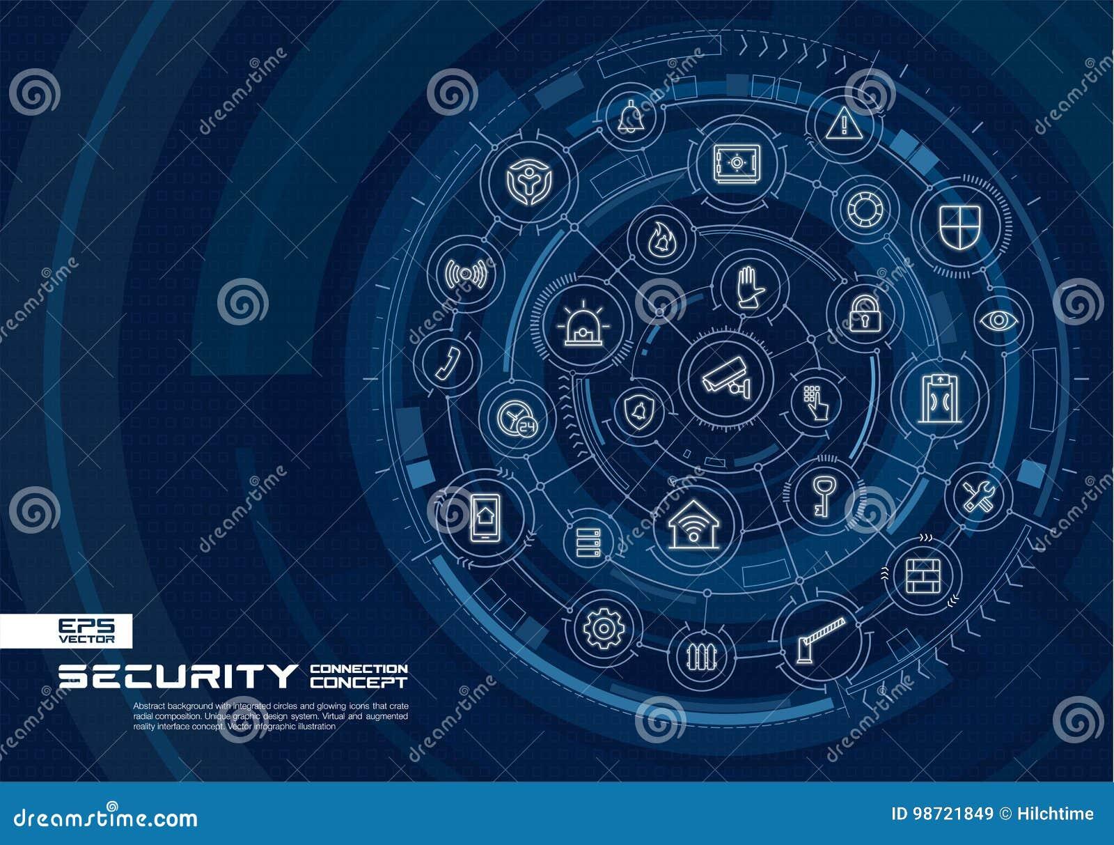 Abstracte veiligheid, toegangsbeheerachtergrond Digitaal sluit systeem aan geïntegreerde cirkels, gloeiende dunne lijnpictogramme