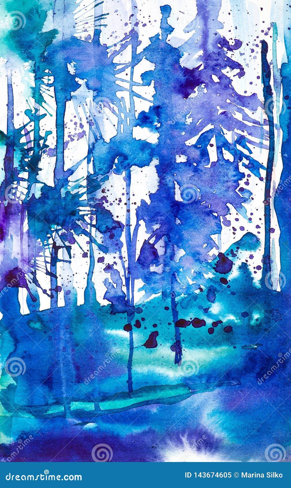 Abstracte waterverfillustratie van het blauwe die bos door dalingen van inktvlekken wordt omringd