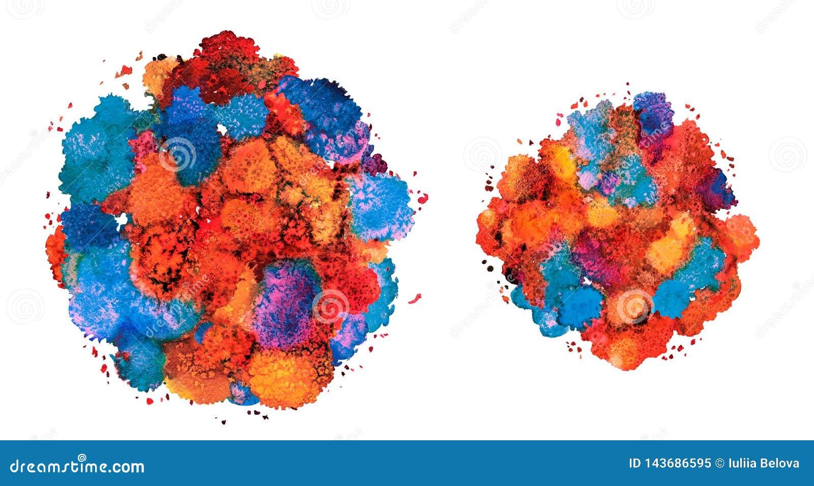 Abstracte waterverftextuur, bionische vorm, dynamische kleuren Griekse blauw en rood Dynamische ontwikkeling De groei Voor de ach