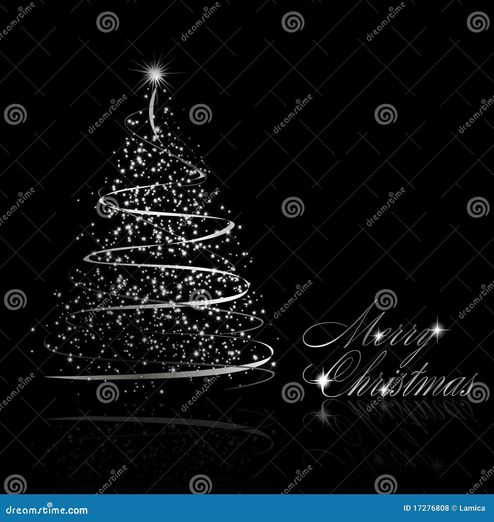 Abstracte zilveren Kerstmisboom op zwarte achtergrond