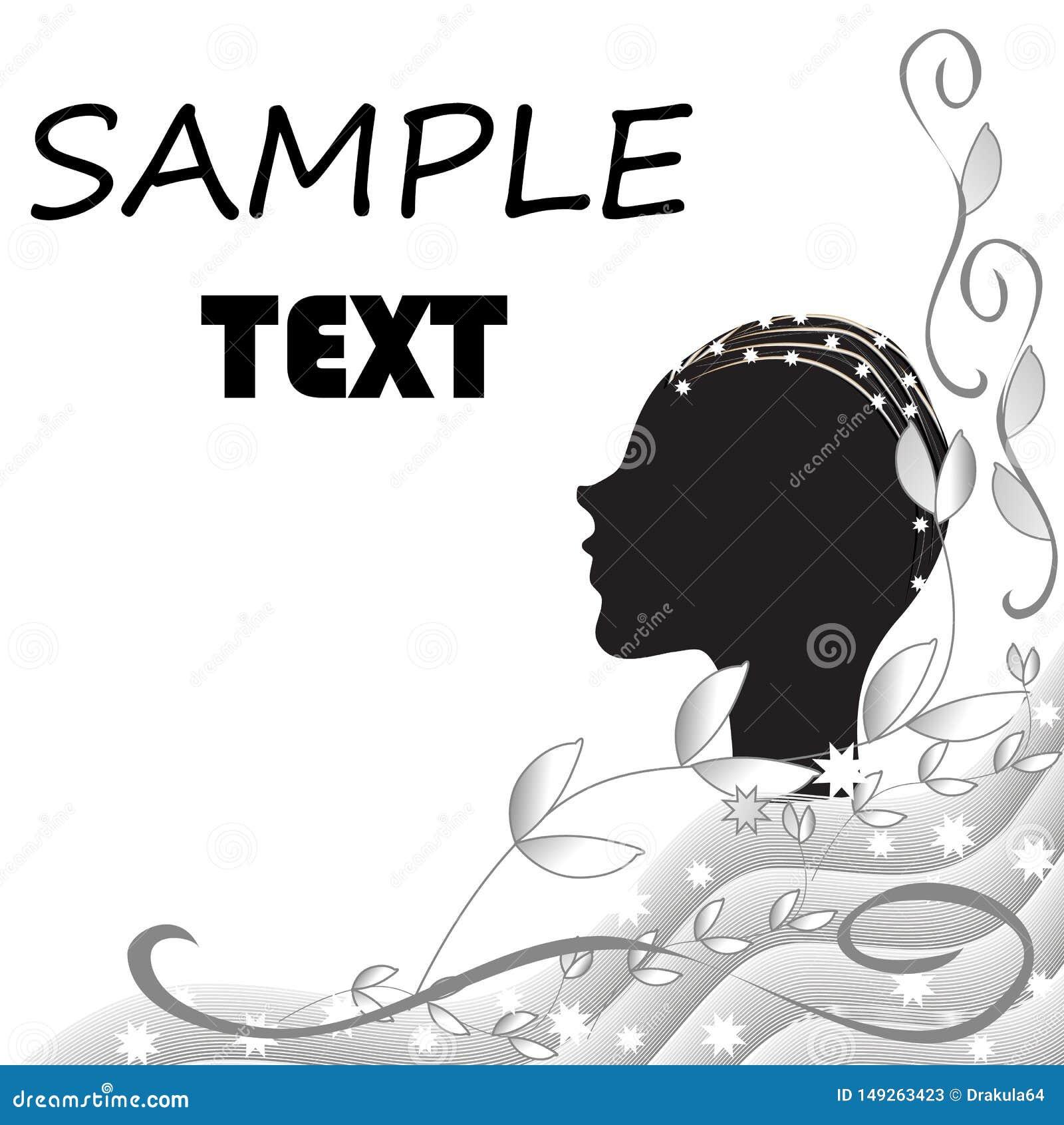 Abstracte zwart-witte achtergrond met het silhouet van een vrouwelijk hoofd