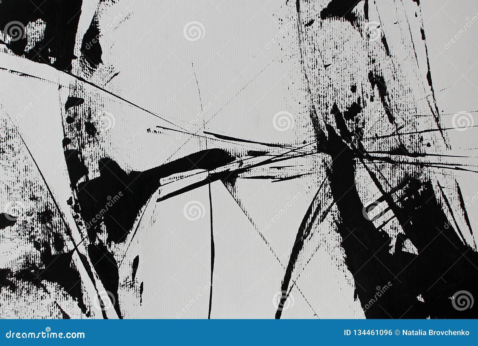 Abstraction blanche noire avec la peinture acrylique