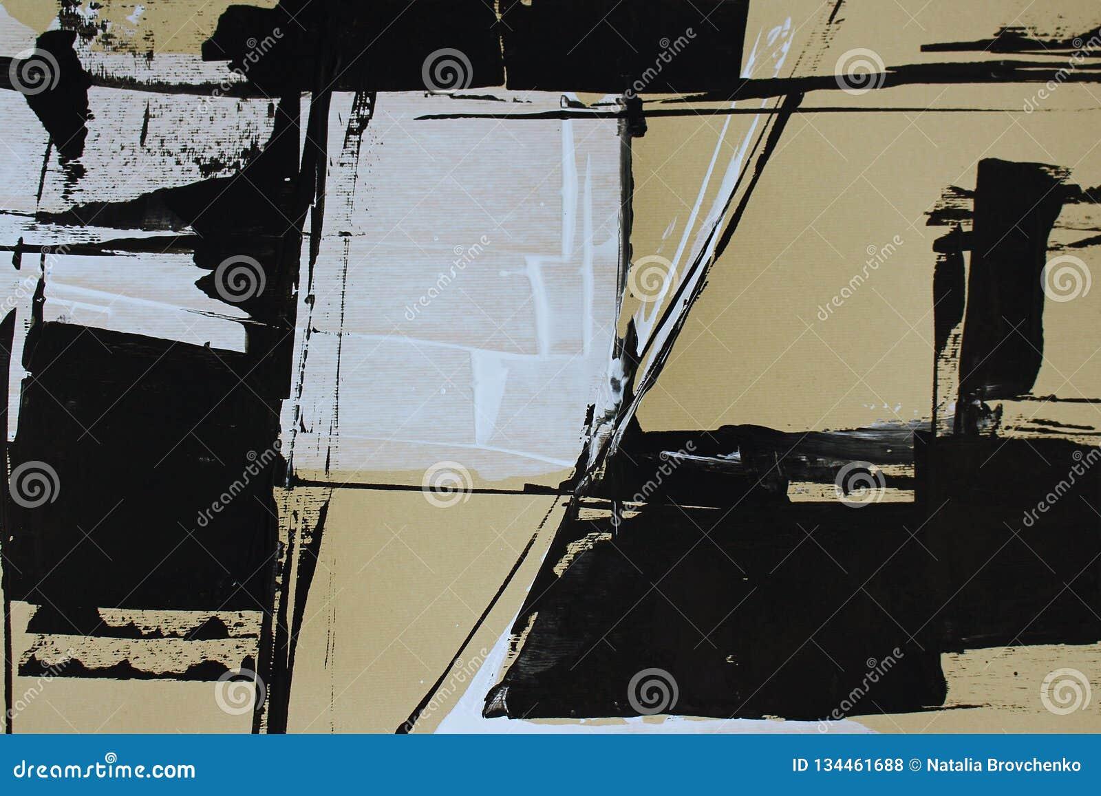 Abstraction noire et blanche avec les peintures acryliques