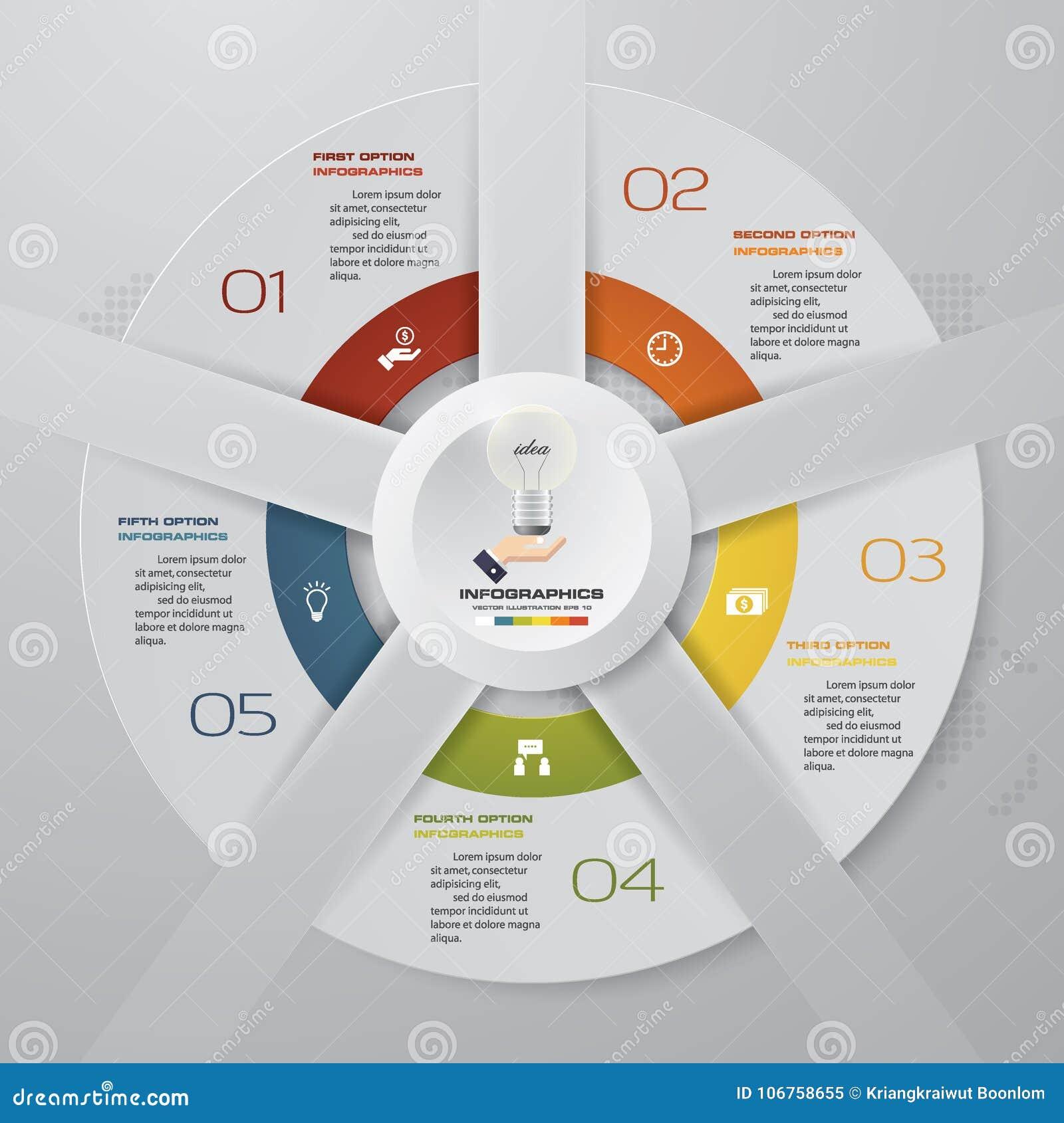 Abstraia 6 elementos modernos do infographics da carta de torta das etapas Ilustração do vetor