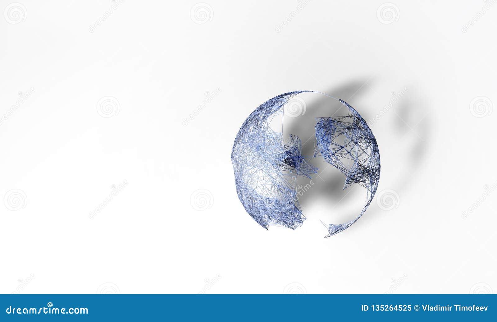 Abstraia o conceito do Internet Mapa poligonal do mundo e estrutura de rede do plexo do visualização ilustração 3D