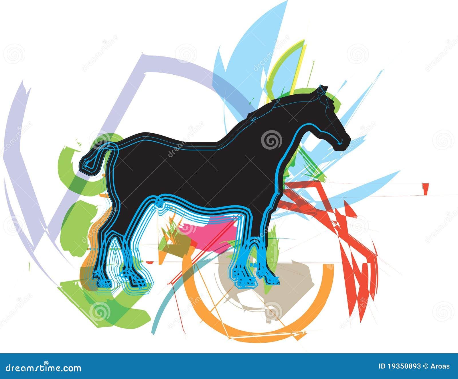 Abstraia silhuetas dos cavalos