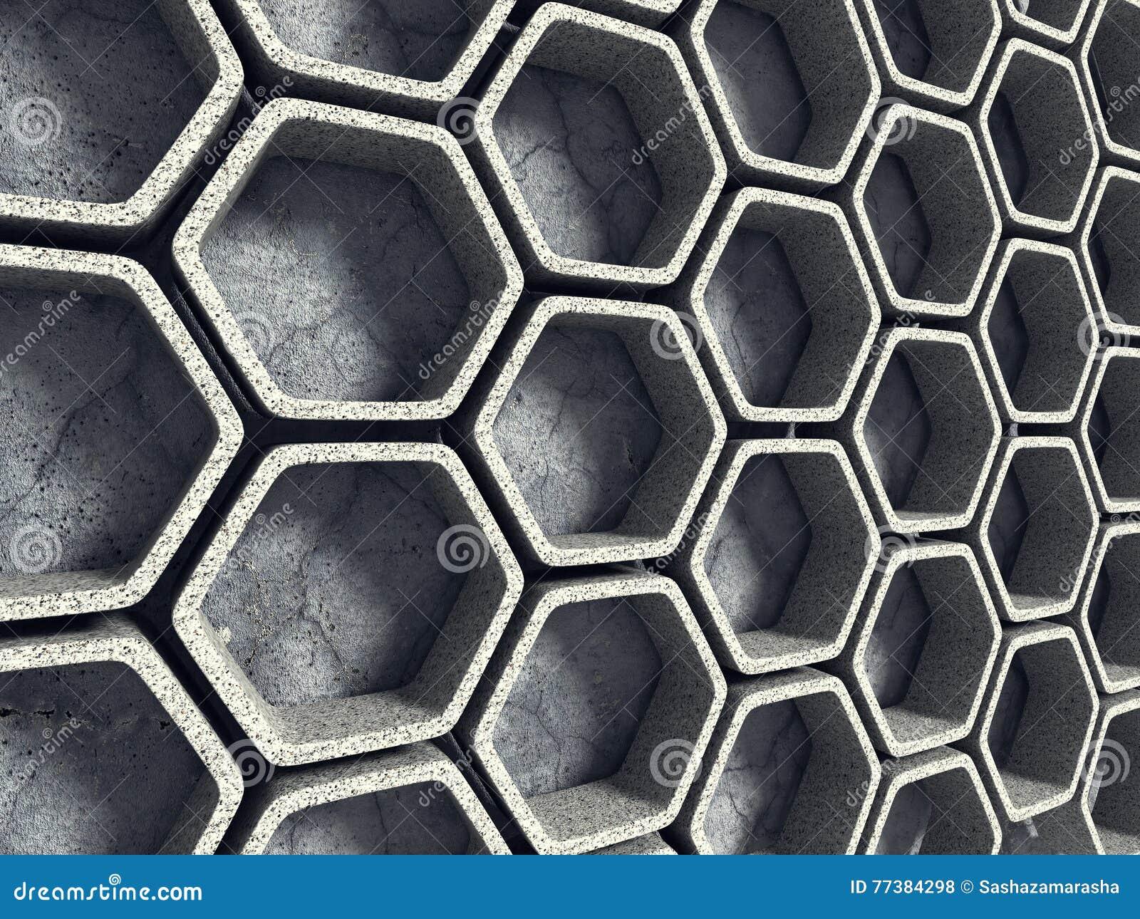 Abstraiga el fondo de la configuración Pared concreta del hexágono