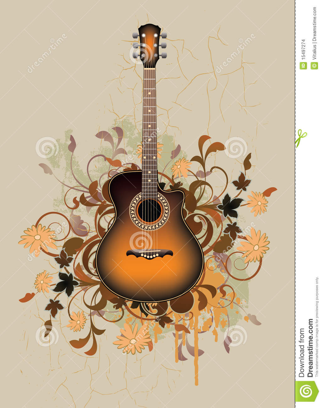 abstrait modifi avec la guitare acoustique orange images stock image 15497274. Black Bedroom Furniture Sets. Home Design Ideas
