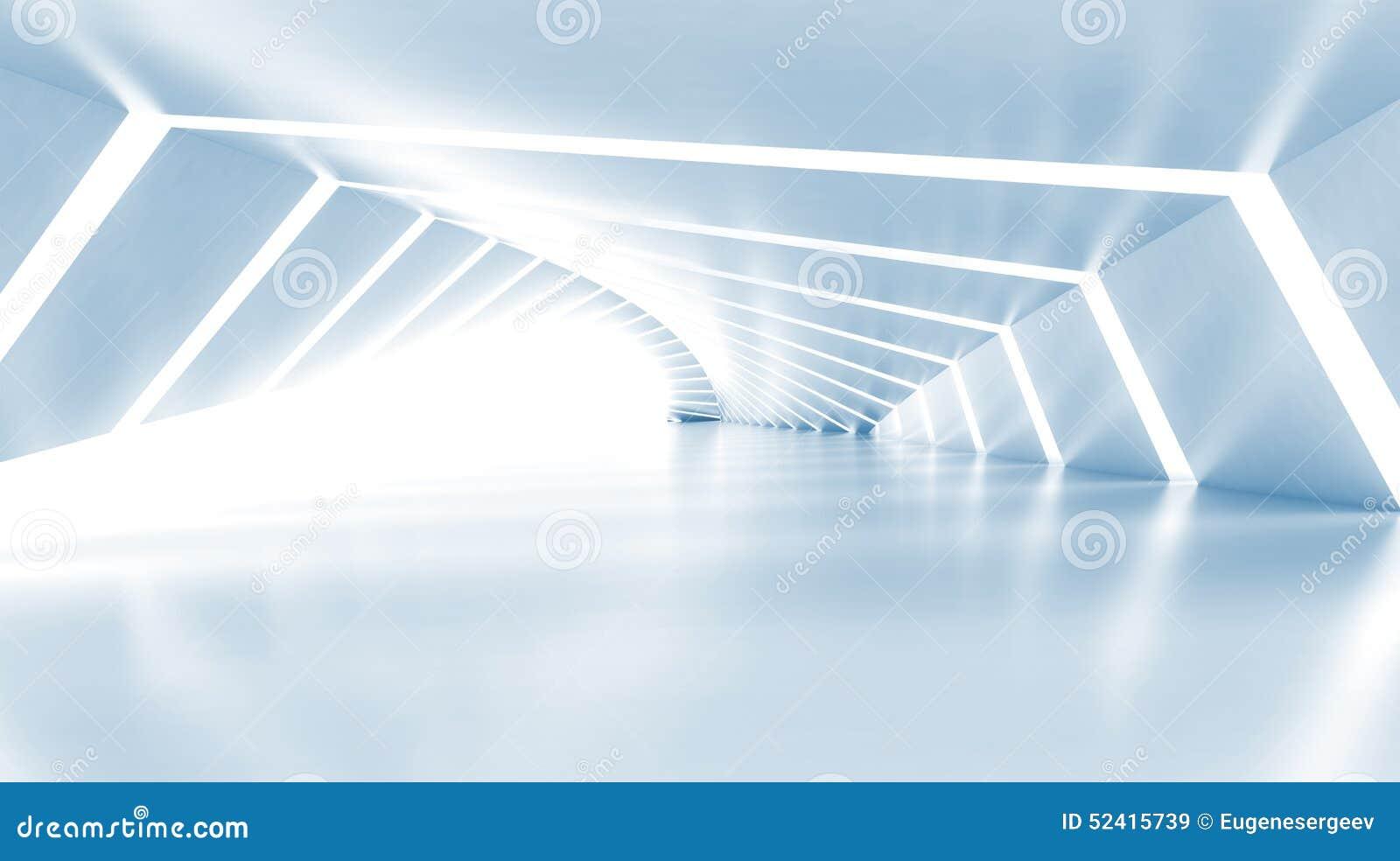 Abstrait videz le couloir brillant bleu-clair lumineux, 3d