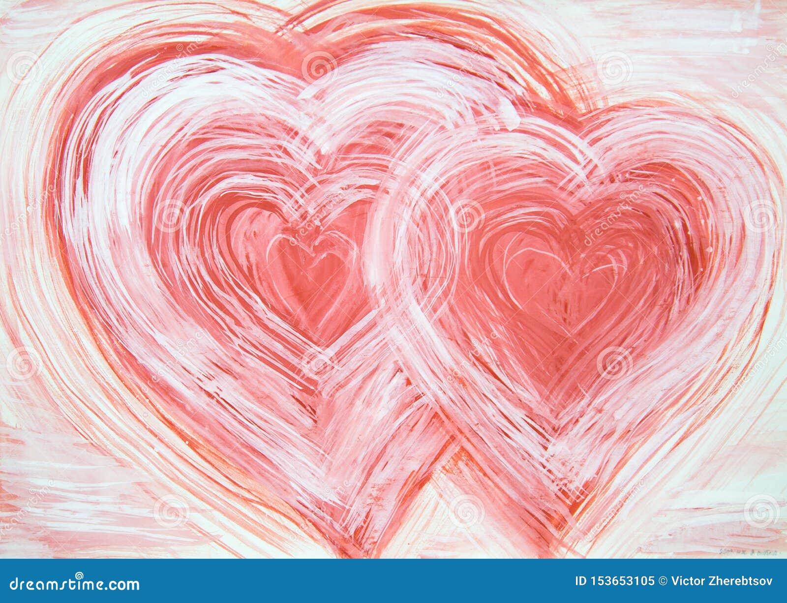Abstrakcji Dwa serca malowali z białymi czerwonymi kolorami
