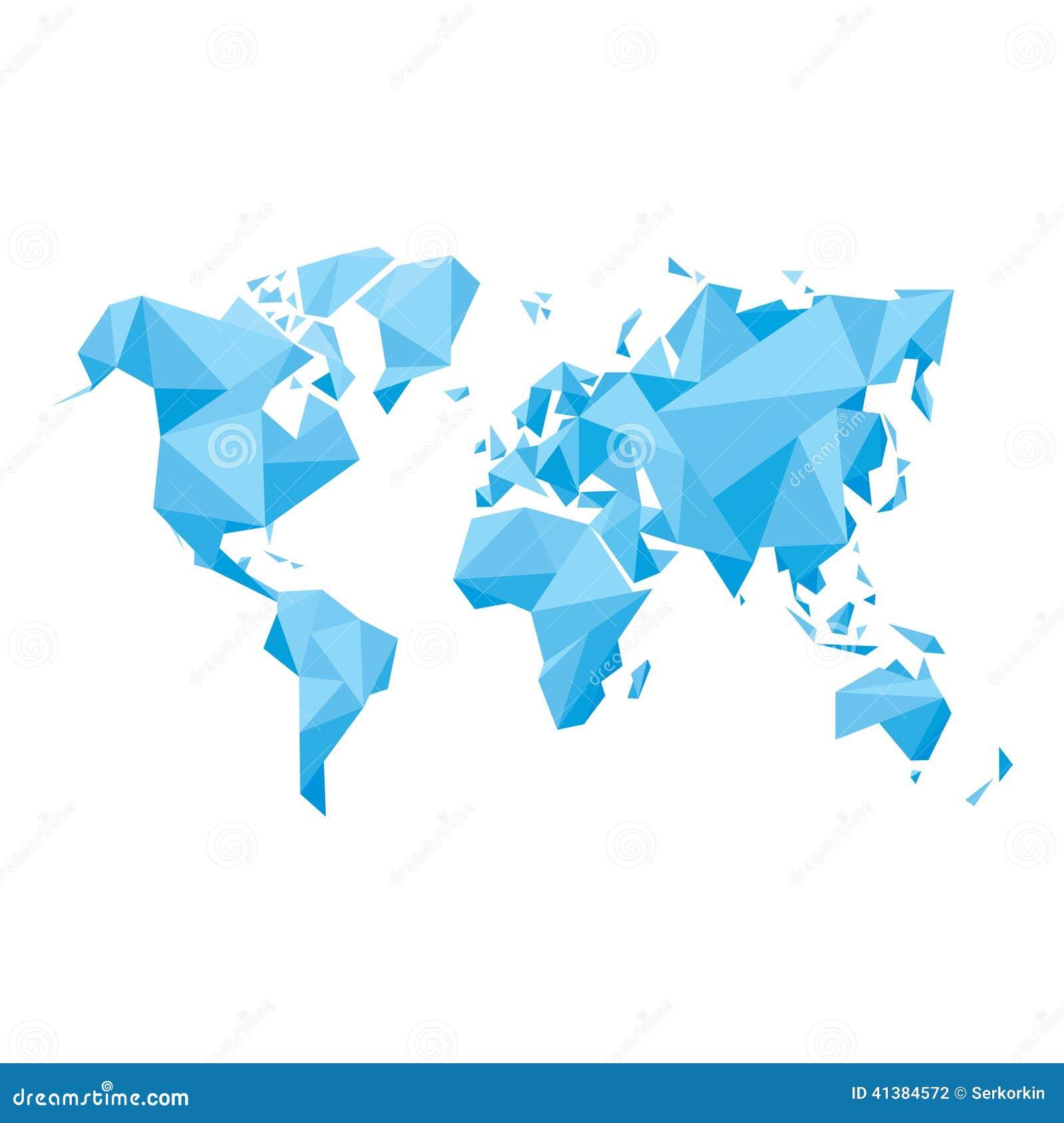 Abstrakcjonistyczna Światowa mapa Geometryczna struktura - Wektorowa ilustracja -