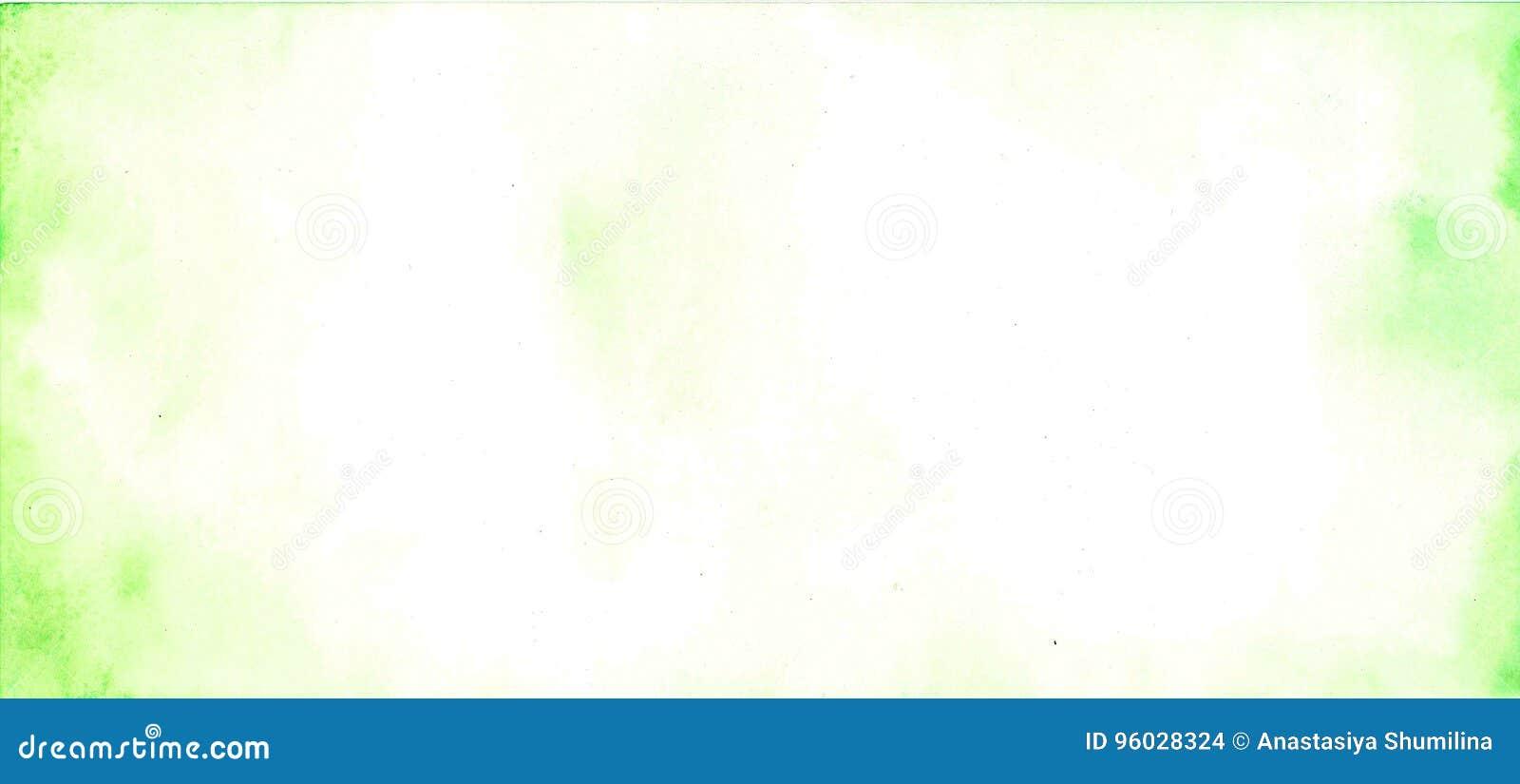 Abstrakcjonistyczna akwareli ręka malował zielonego i białego tło,