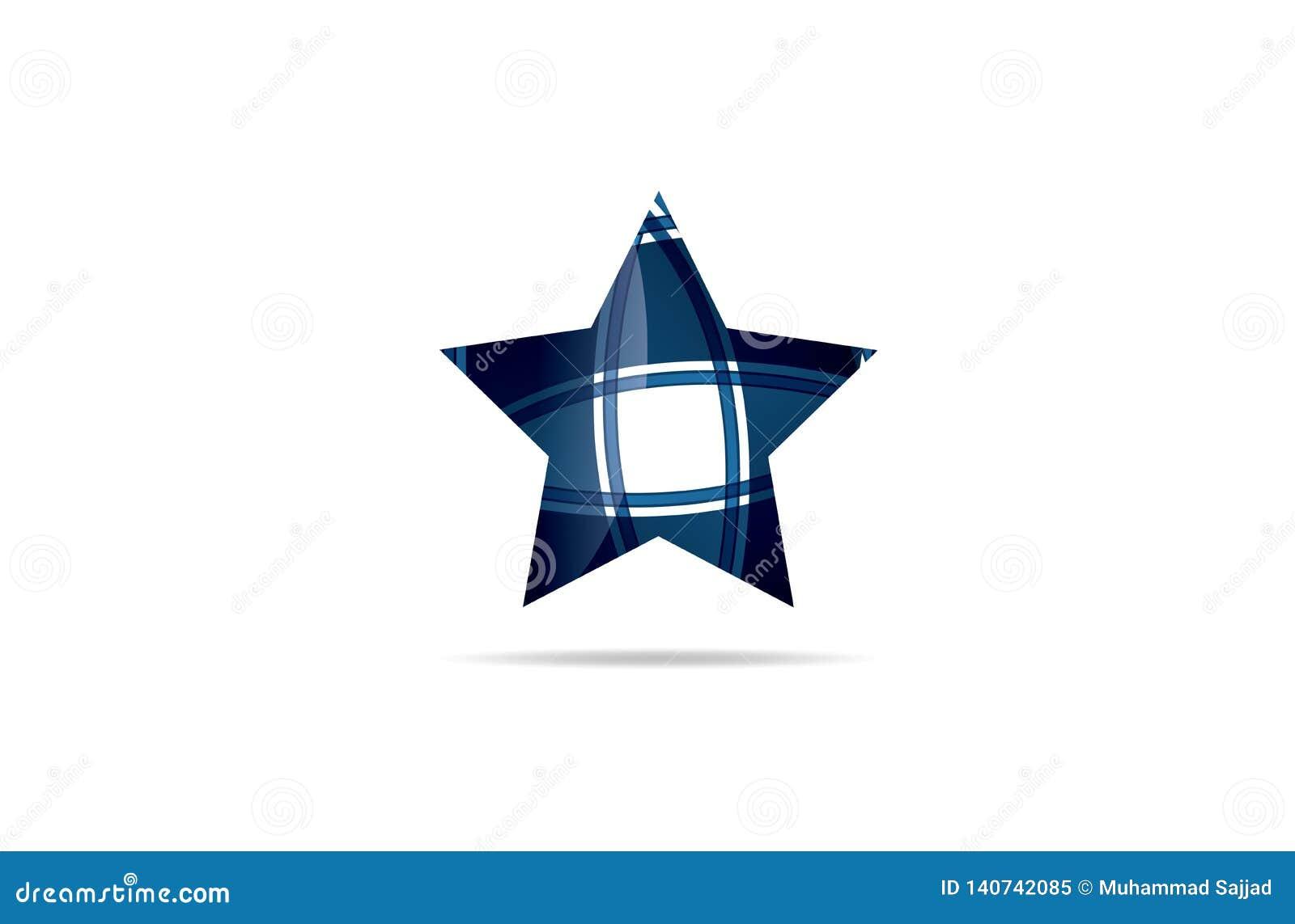 Abstrakcjonistyczna Błękitnej gwiazdy logo ikona, logo szablonu logotyp