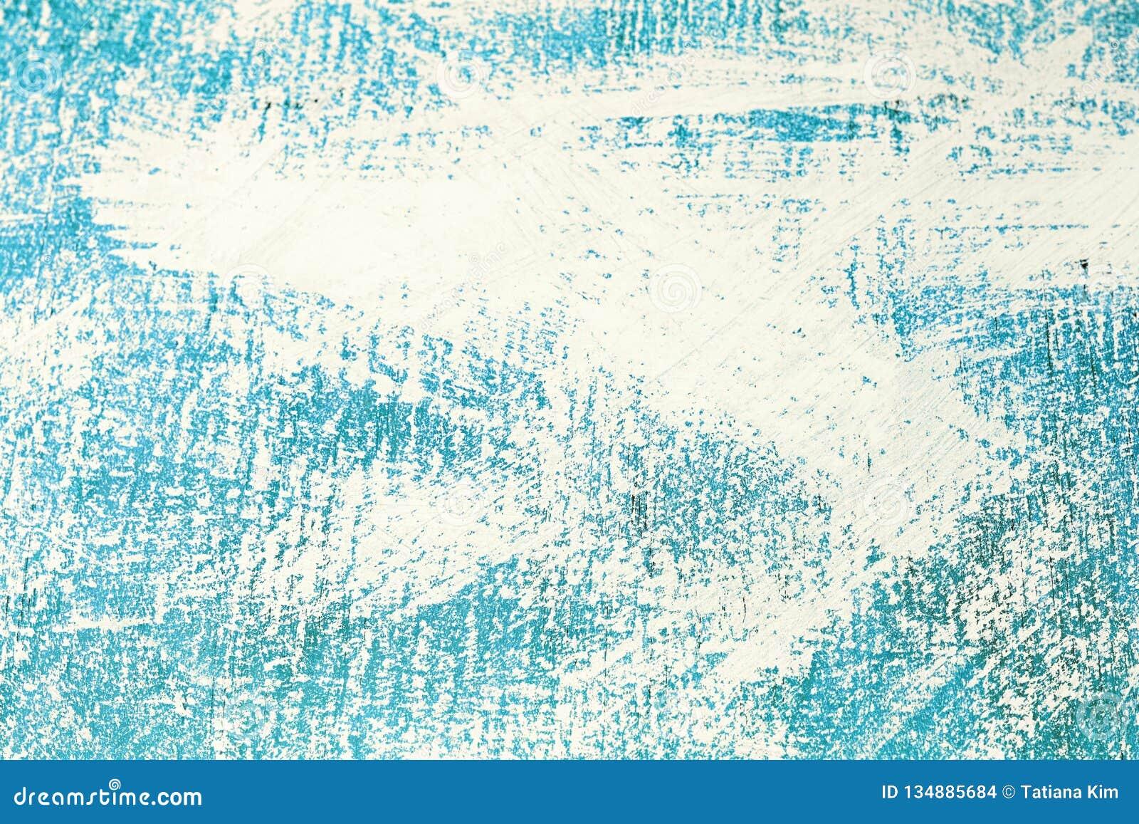Abstrakcjonistyczna błękitna nierówna powierzchnia malował z białą farbą, tło, tekstura
