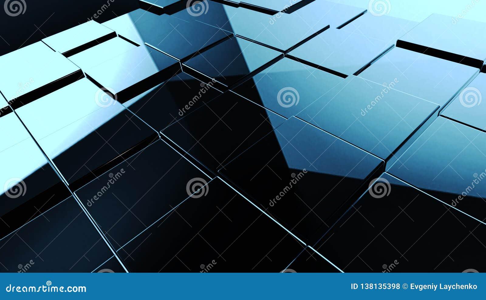 Abstrakcjonistyczna czarna sześcian tekstura dla projekta tła ilustracja 3 d