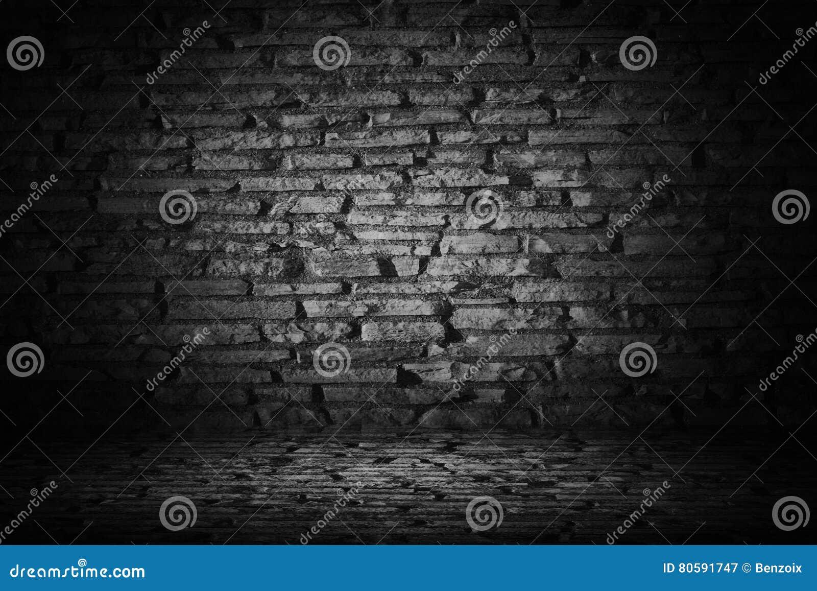 Abstrakcjonistyczna czerń cementu cegła z rabatowym czarnym winiety backgroun