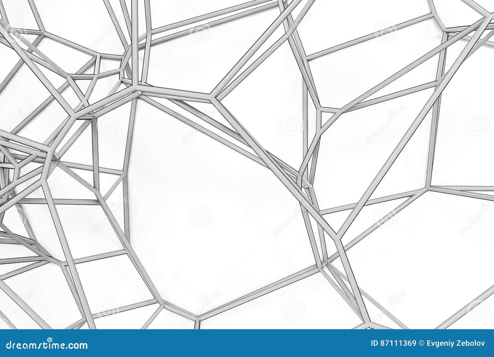Abstrakcjonistyczna 3d voronoi kratownica na białym tle