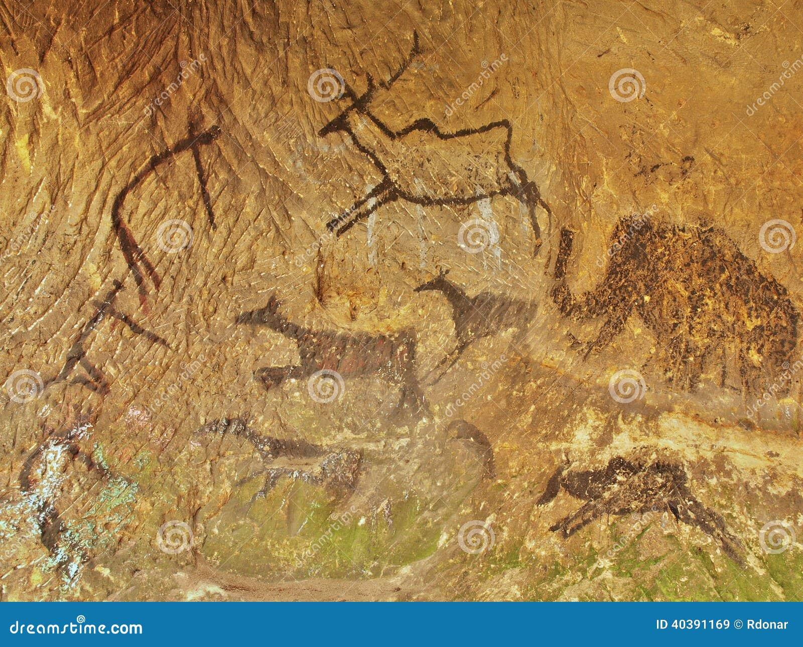 Abstrakcjonistyczna dziecko sztuka w piaskowcowej jamie. Czarna węgiel farba ludzki polowanie na piaskowiec ścianie