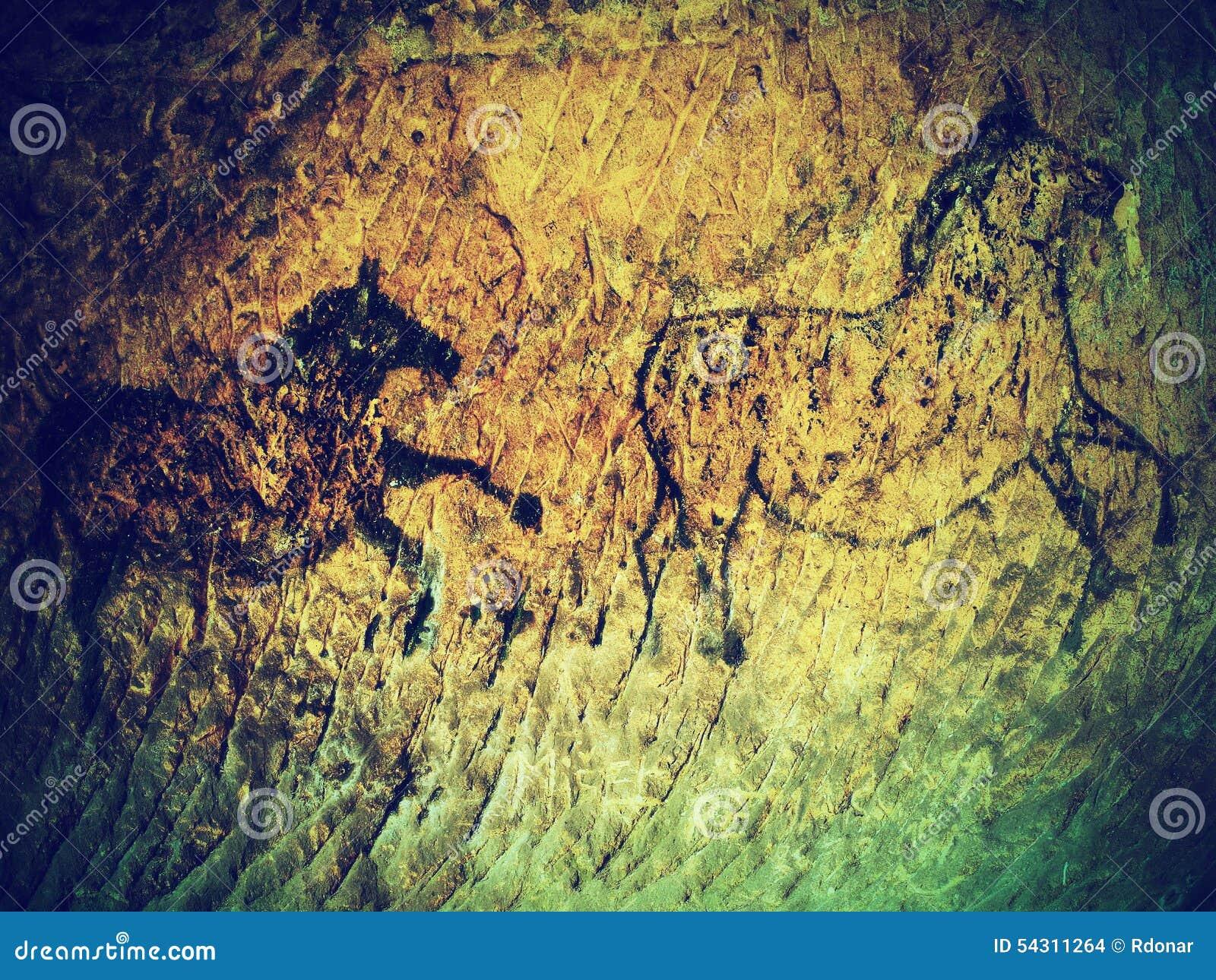 Abstrakcjonistyczna dziecko sztuka w piaskowcowej jamie Czarna węgiel farba ludzki polowanie na piaskowiec ścianie, kopia prehist