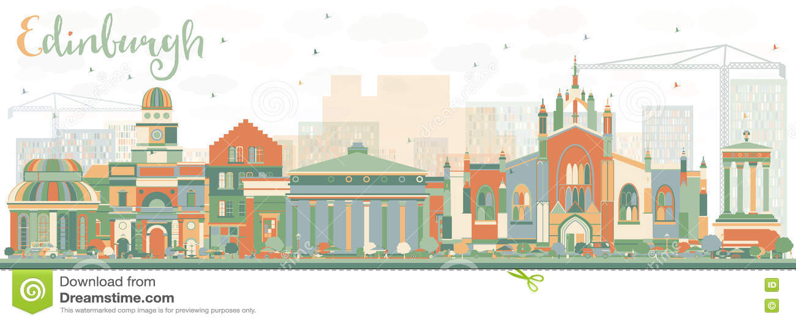 Abstrakcjonistyczna Edynburg linia horyzontu z kolorów budynkami