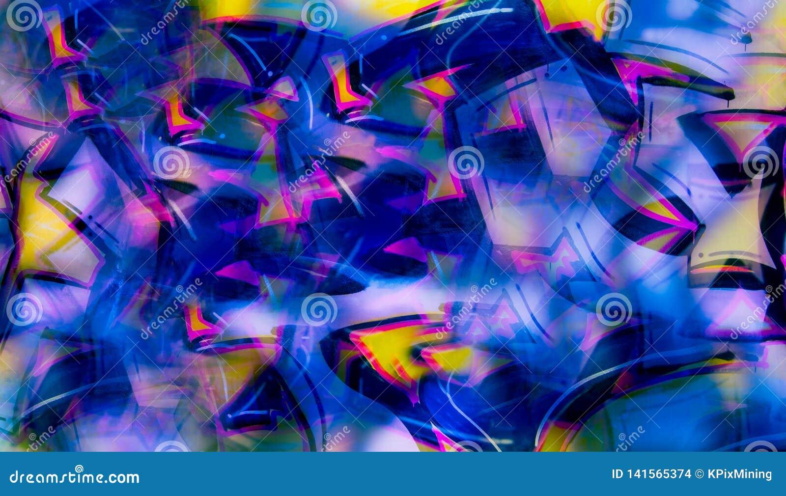 Abstrakcjonistyczna graffiti imitacja w cyfrowym kolażu