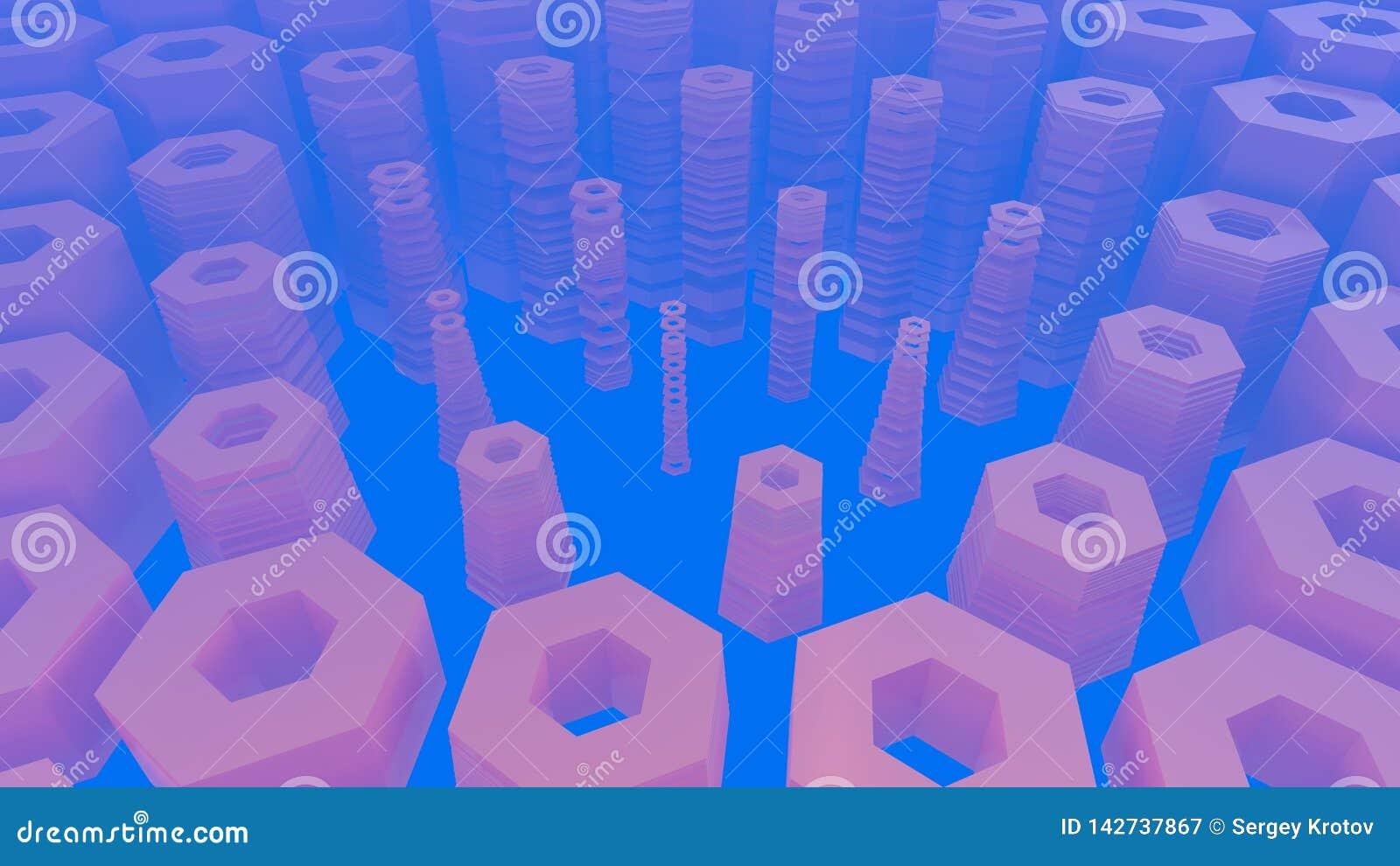 Abstrakcjonistyczna heksagonalna architektoniczna struktura w mgłowej przestrzeni ilustracja 3 d