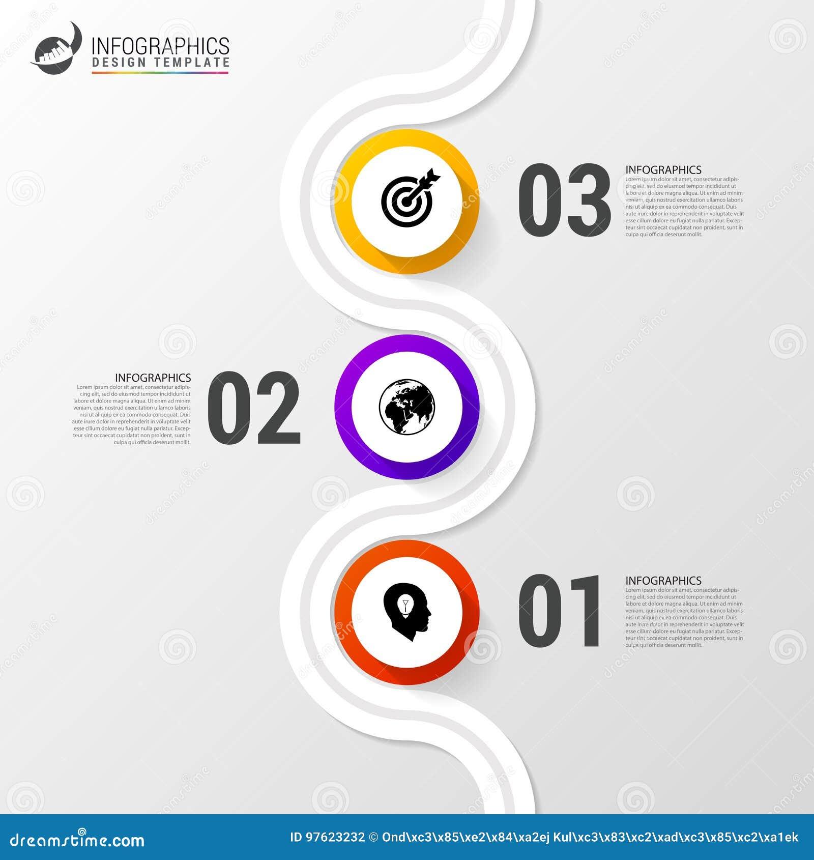 Abstrakcjonistyczna kolorowa biznesowa ścieżka Linia czasu infographic szablon