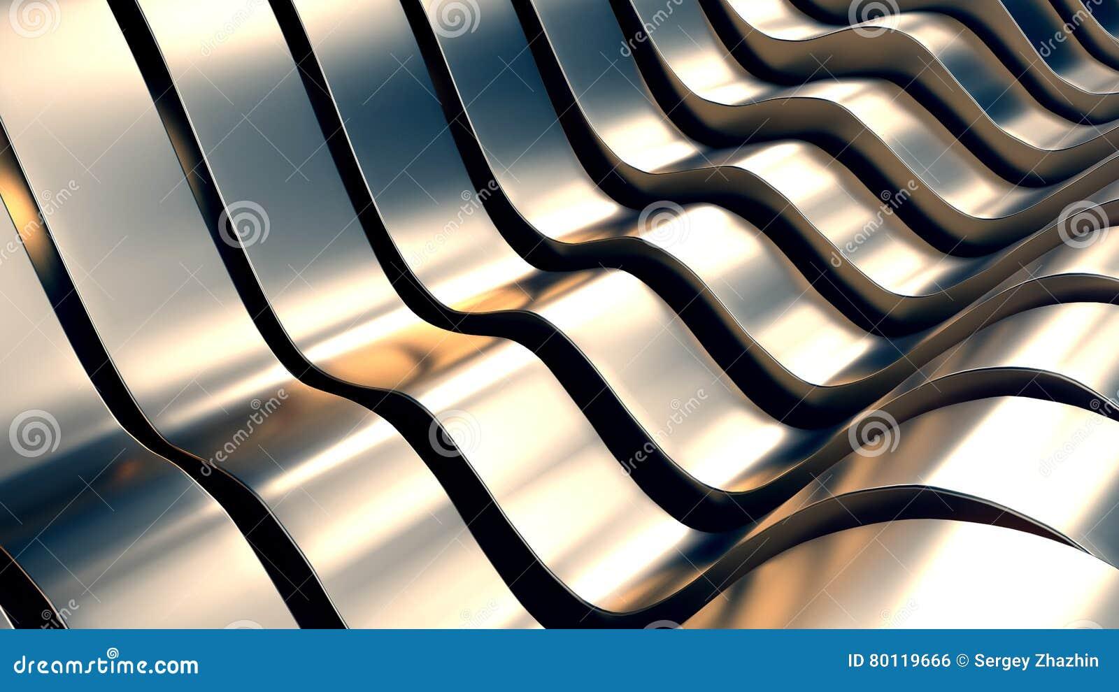 Abstrakcjonistyczna metal fala tła 3D ilustracja