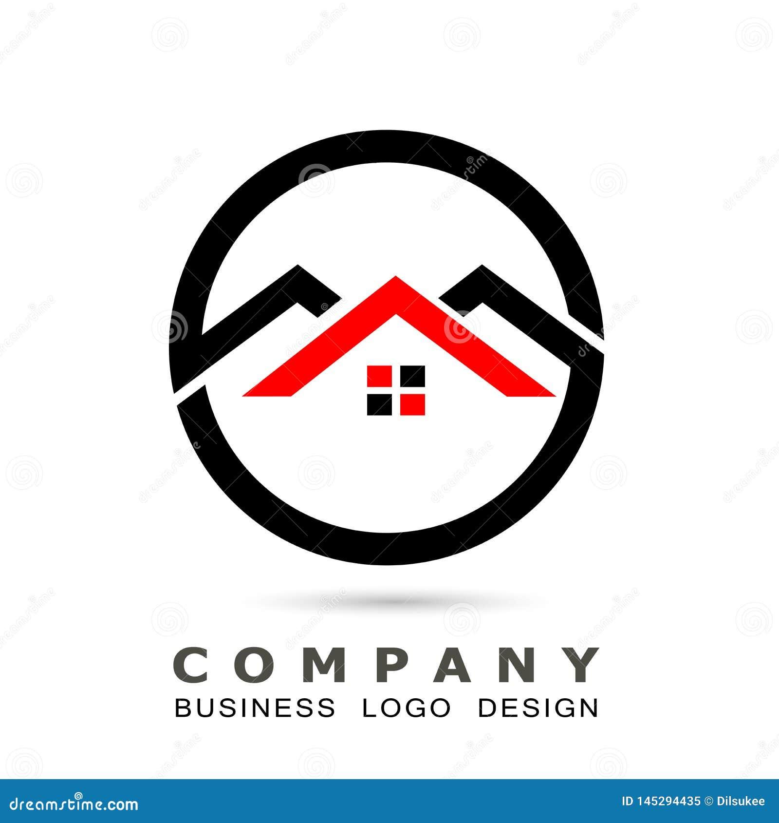 Abstrakcjonistyczna nieruchomo?? domu dachu i domowego logo elementu wektorowa ikona projektuje wektor na bia?ym tle Biznes, kole