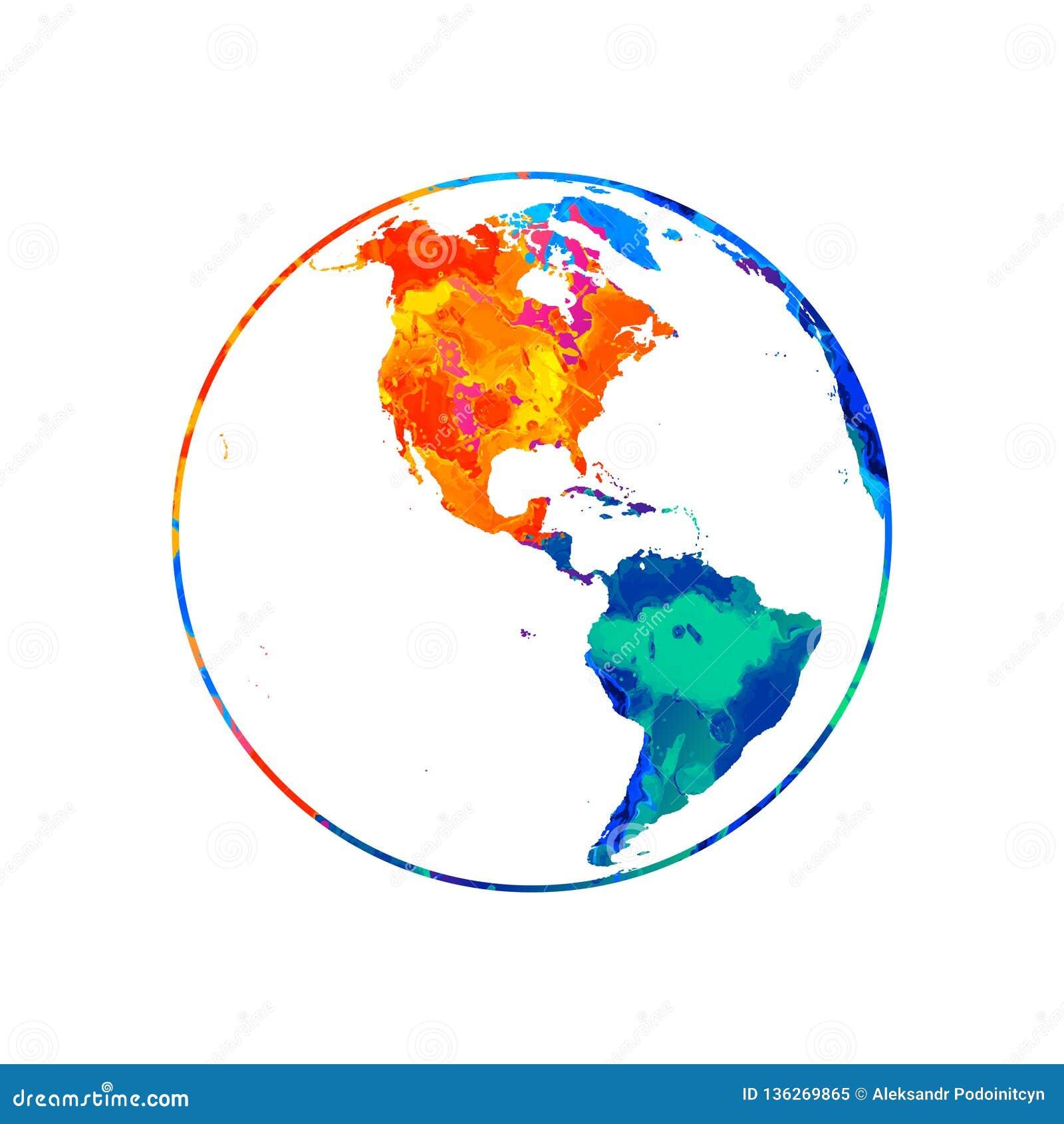 Abstrakcjonistyczna planety ziemia od pluśnięcia akwarele Światowej mapy kula ziemska