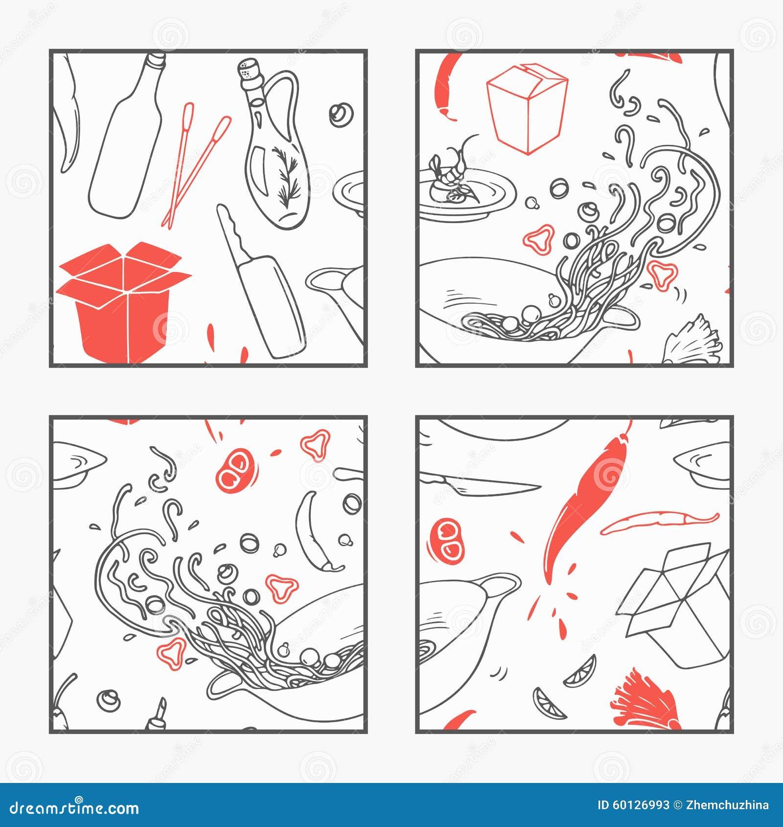 Abstrakcjonistyczna ręka rysujący wok restauracyjni elementy plakatowi dla twój projekta Doodle azjata jedzenie