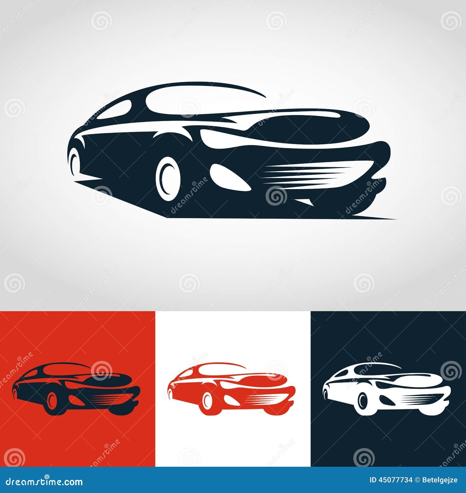 Abstrakcjonistyczna sportowy samochód ilustracja Wektorowy loga projekta szablon