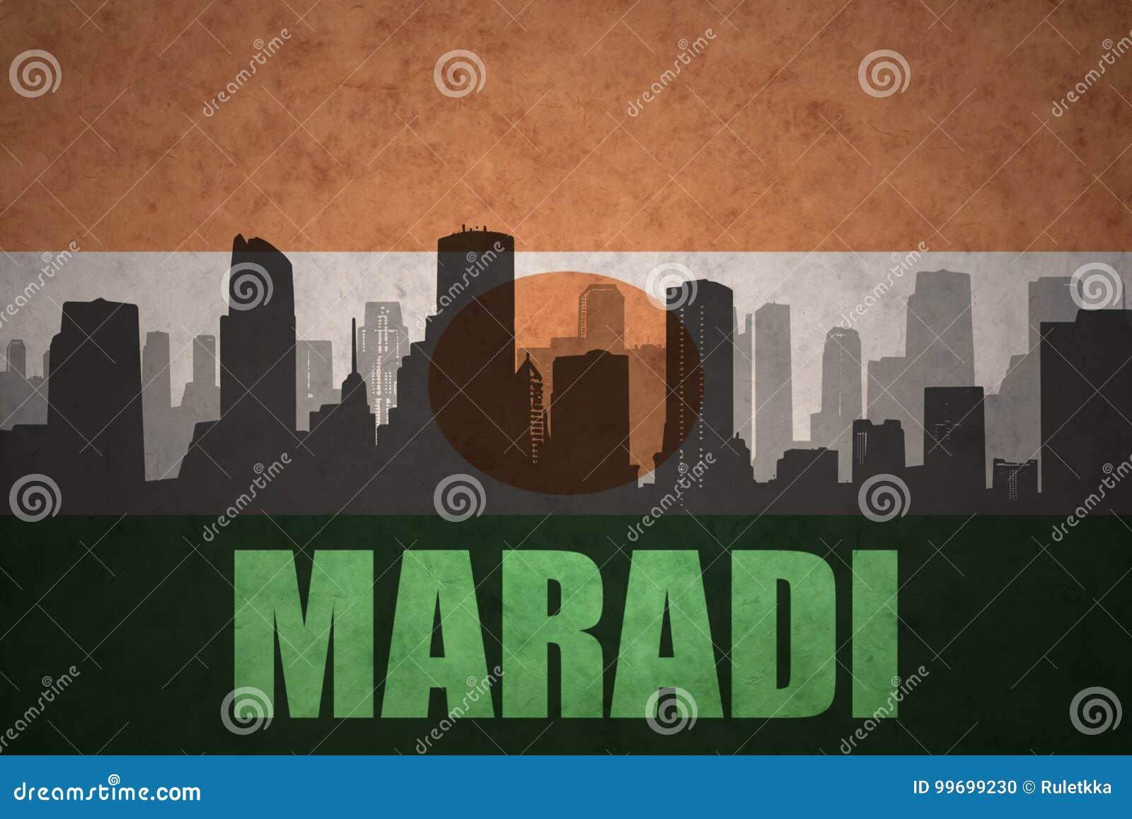 Abstrakcjonistyczna sylwetka miasto z tekstem Maradi przy rocznika Niger flaga