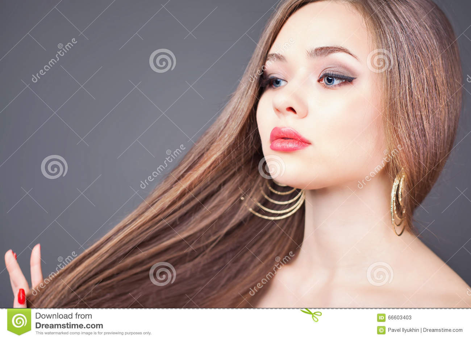 Abstrakcjonistyczna sztandaru mody fryzury ilustracja pięknego włosy długa prosta kobieta