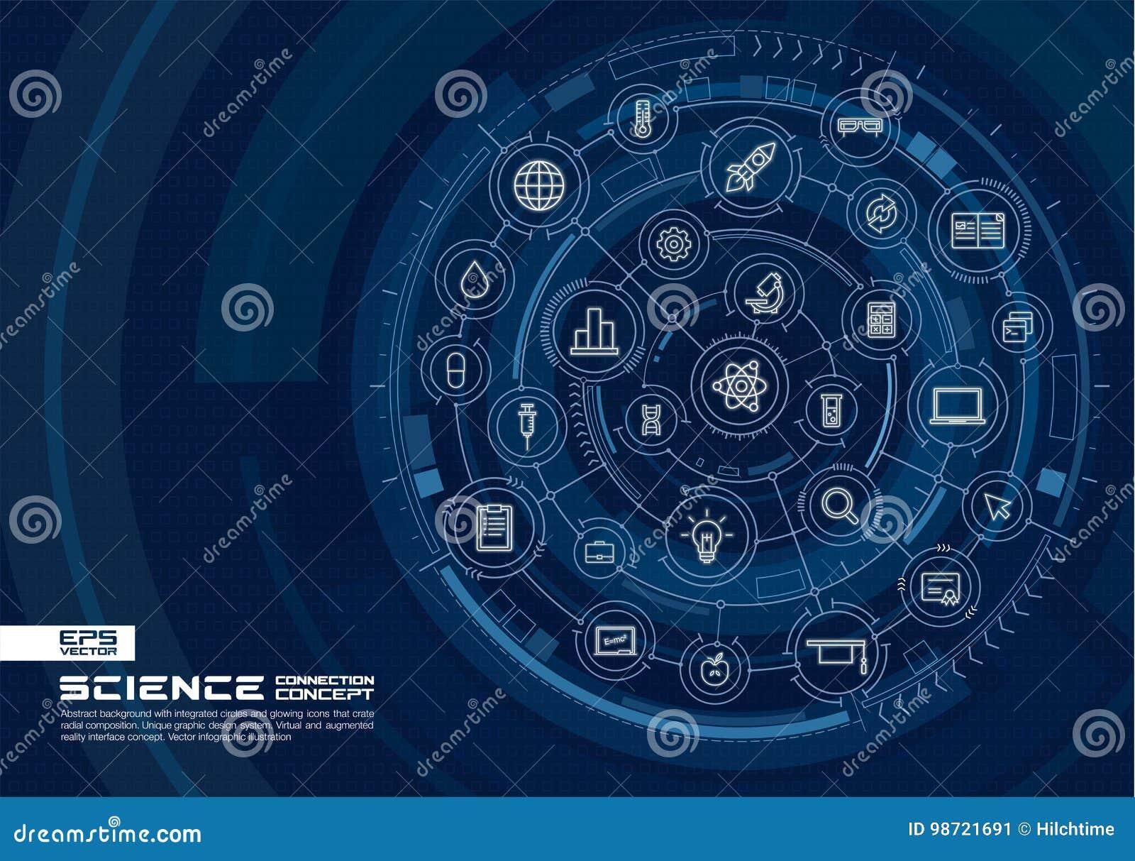 Abstrakcjonistyczna tła nauki technologia Digital łączy system z zintegrowanymi okręgami, rozjarzonymi cienieje kreskowe ikony