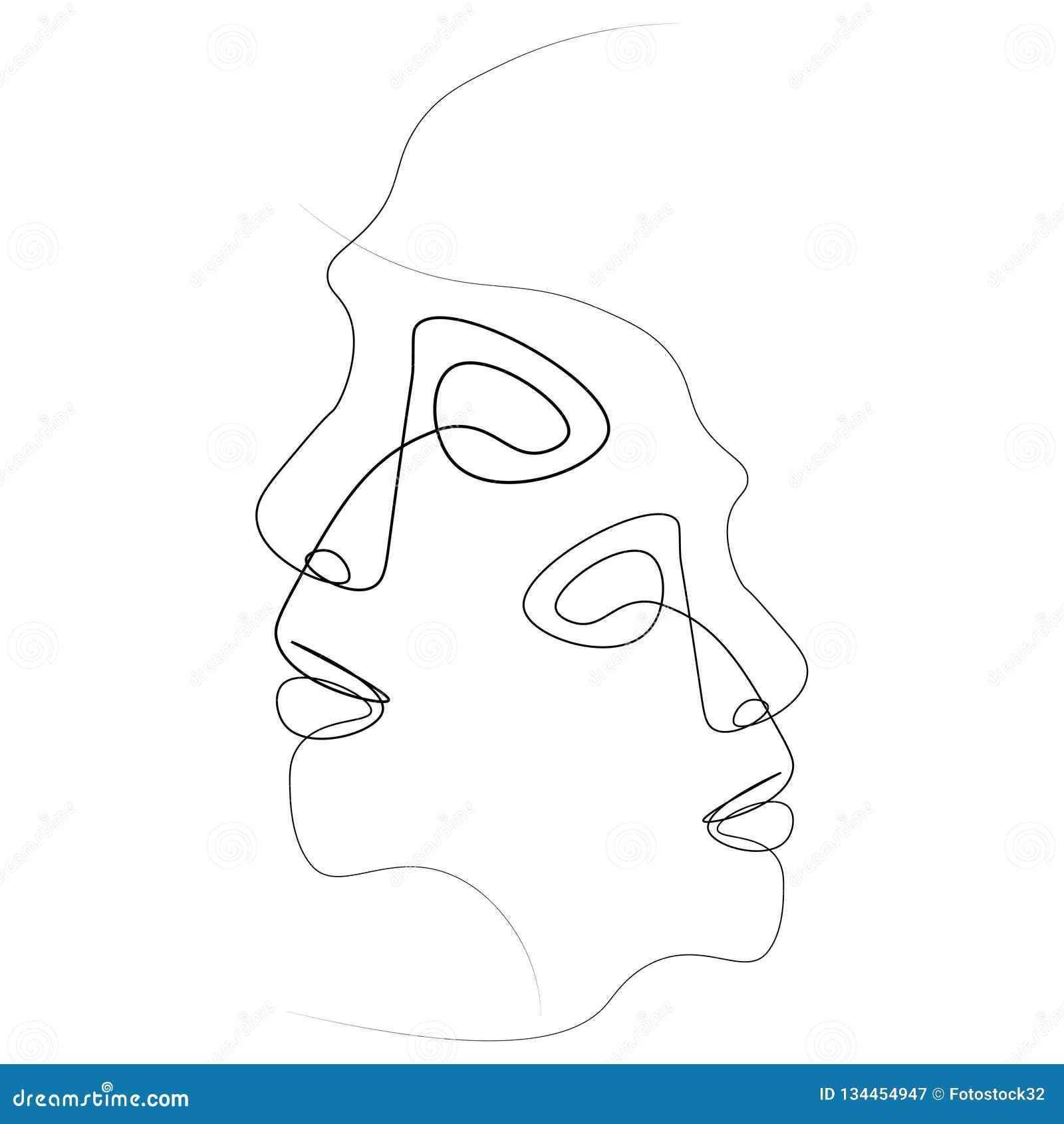 Abstrakcjonistyczna twarzy jeden linia