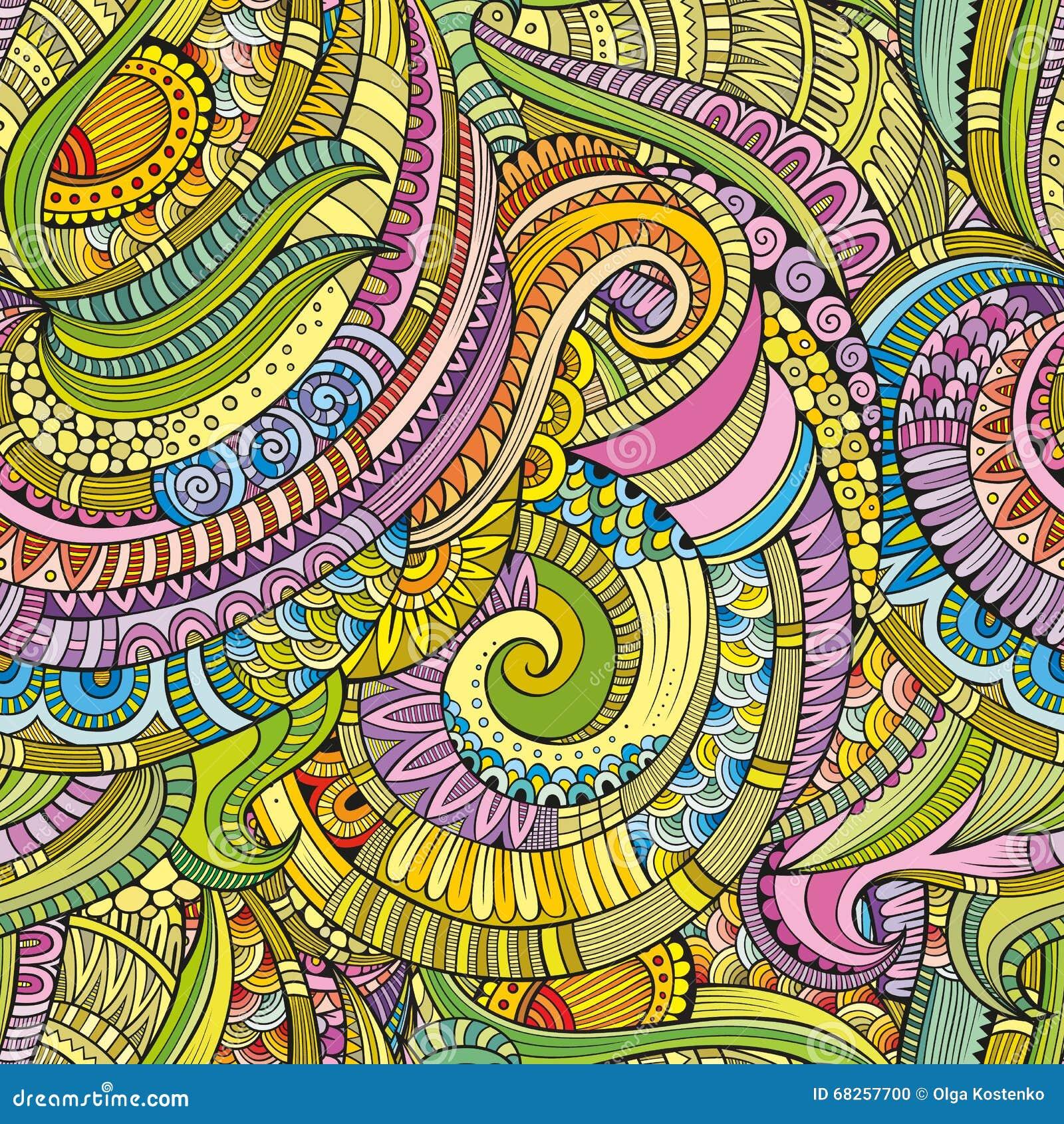 Abstrakcjonistyczna wektorowa dekoracyjna ręka rysujący natura kwiecisty eamless wzór