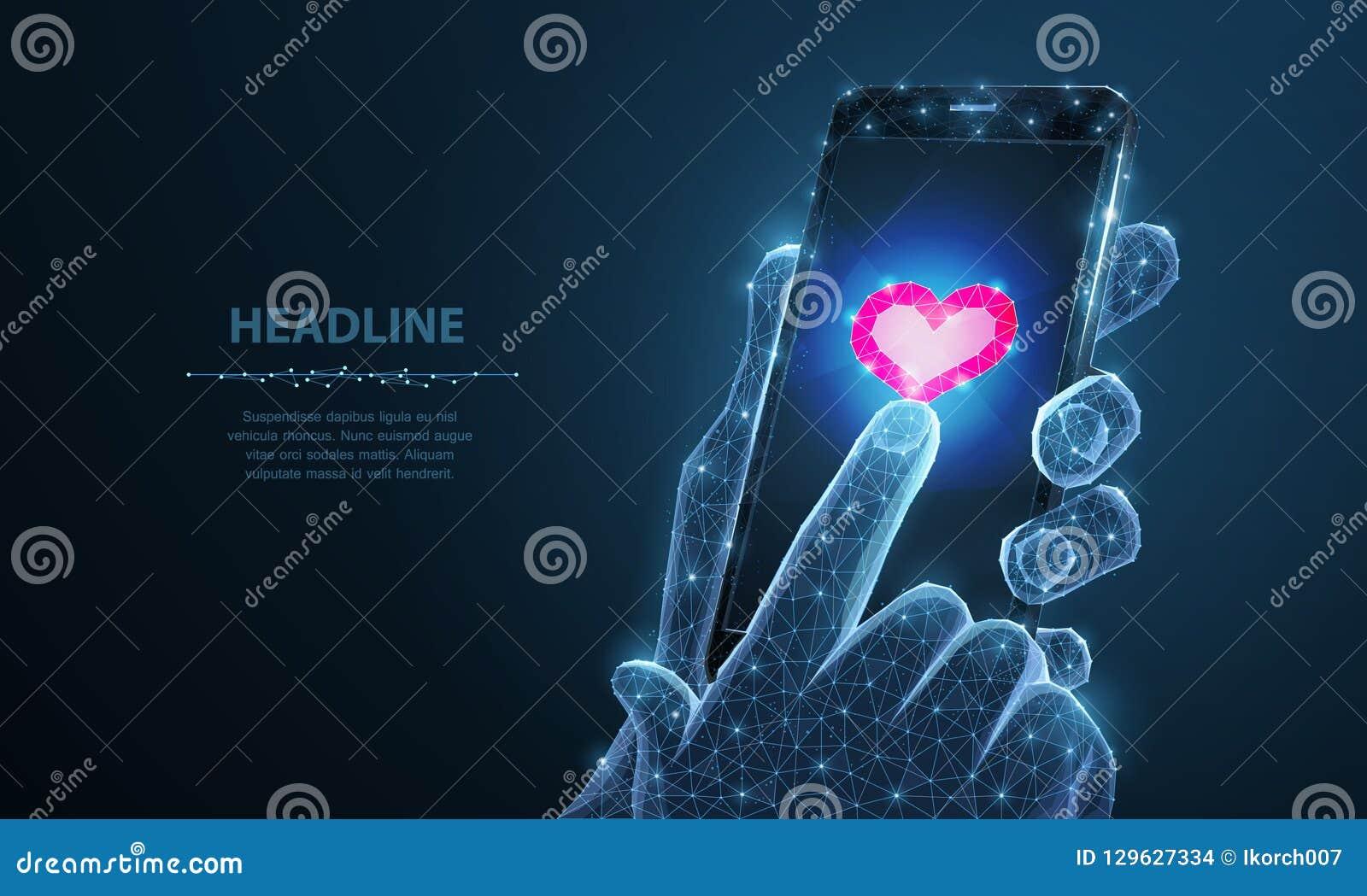Abstrakcjonistyczna wektorowa ilustracja smartphone ikony kierowy app Odosobniony tło Walentynki, miłość romans, jak