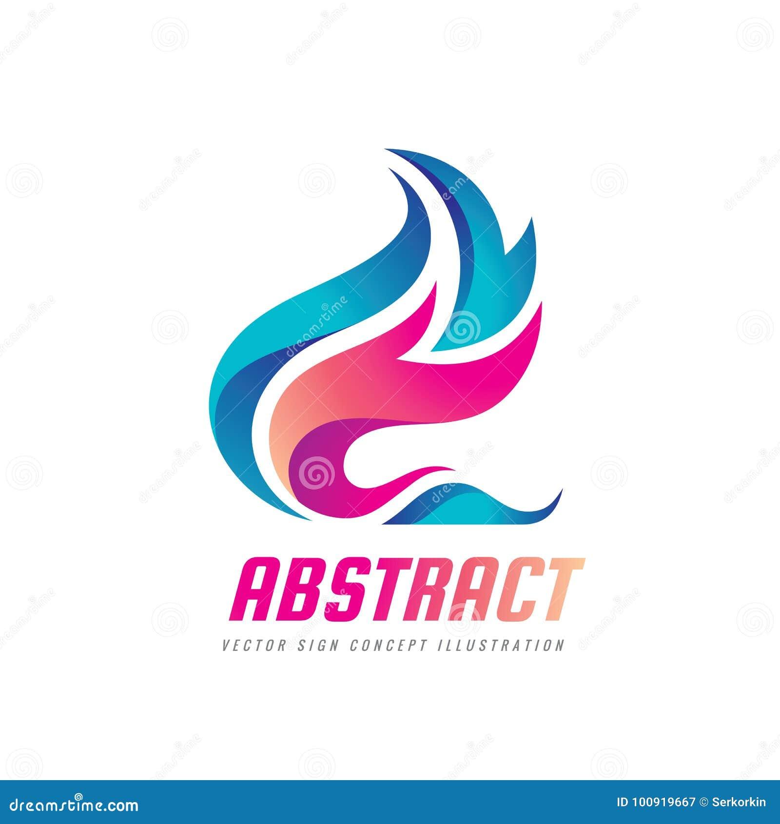 Abstrakcjonistyczna wektorowa loga szablonu pojęcia ilustracja Błękitne wody i czerwonego ogienia płomienie machamy Natura projek