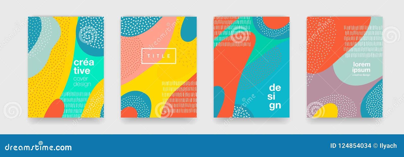 Abstrakcjonistyczna zabawa koloru wzoru kreskówki tekstura dla doodle geometrycznego tła Wektorowy trendu kształt dla broszurka o
