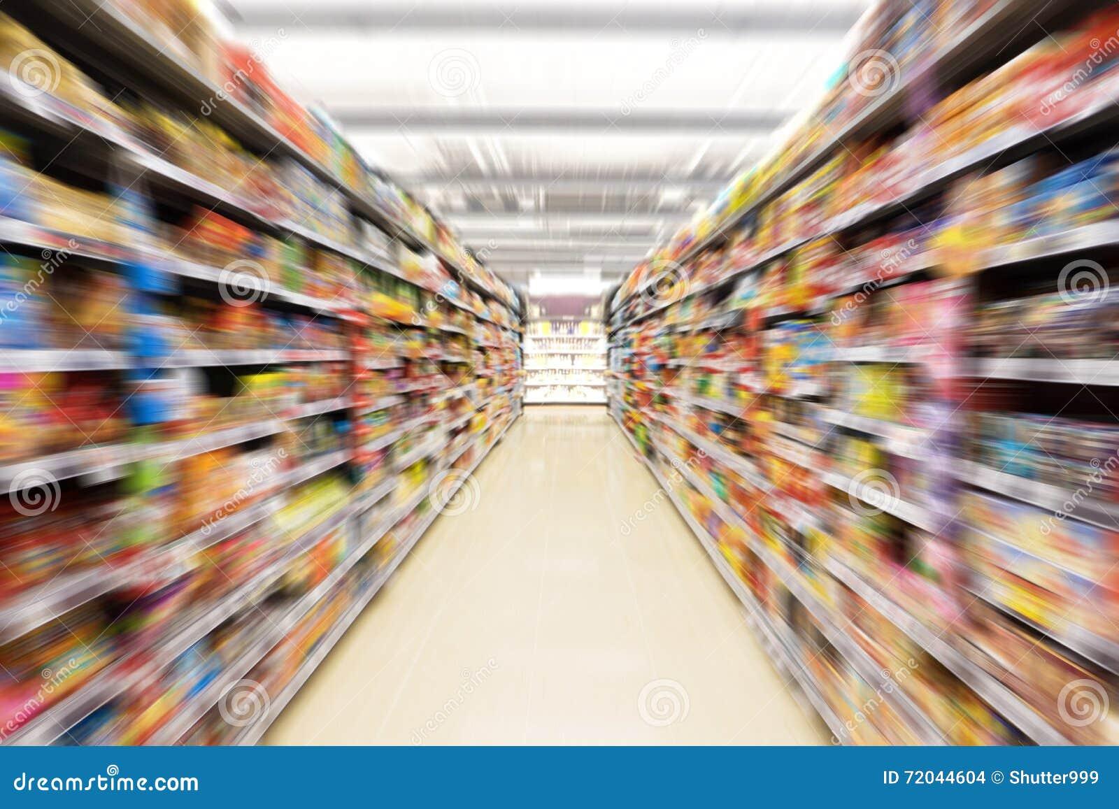 Abstrakcjonistyczna zamazana fotografia sklep w wydziałowym sklepie, Pusta supermarket nawa