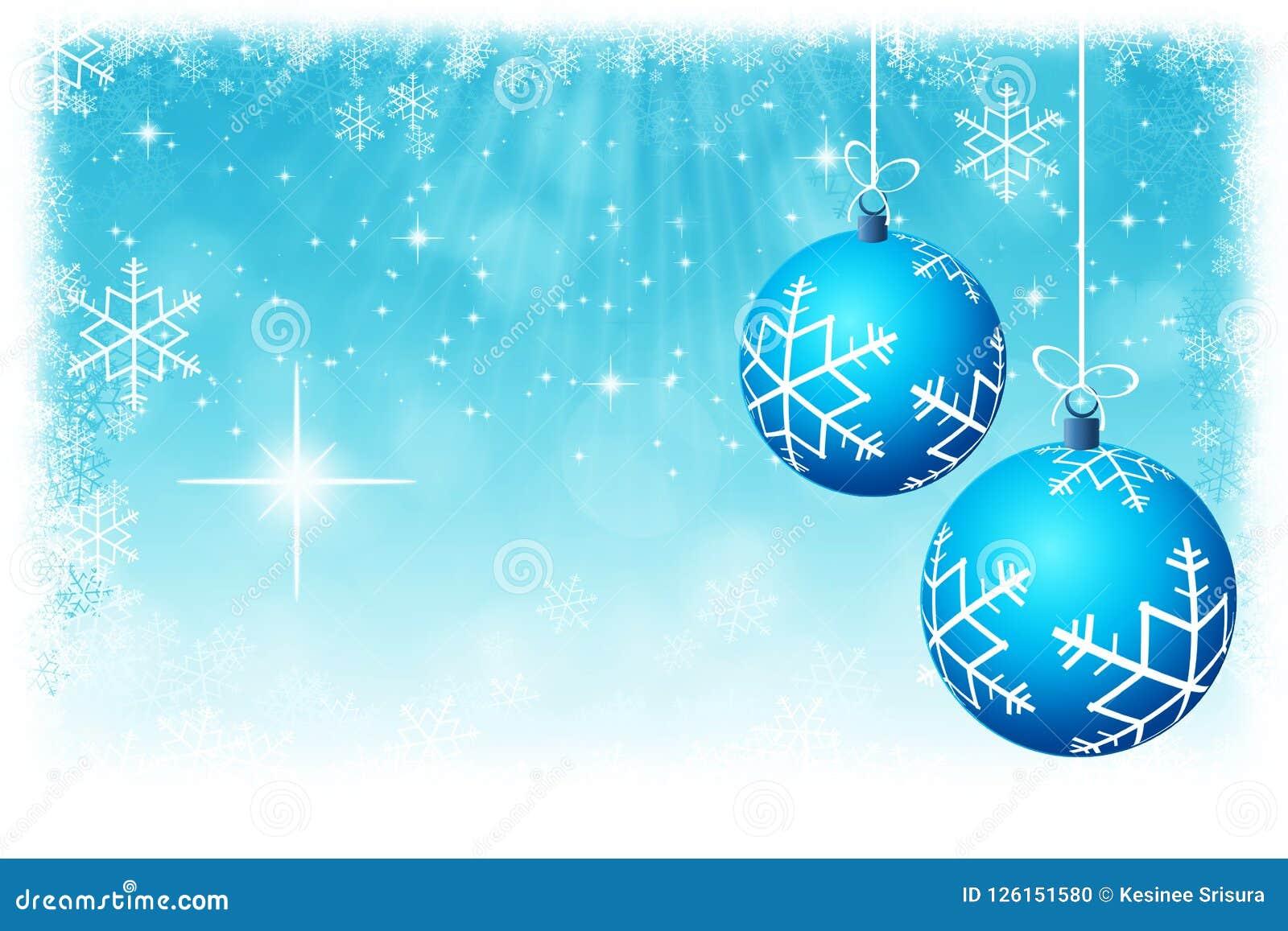 Abstrakcjonistyczne błękitne Bożenarodzeniowe piłki z gwiazd i płatków śniegu backgrou