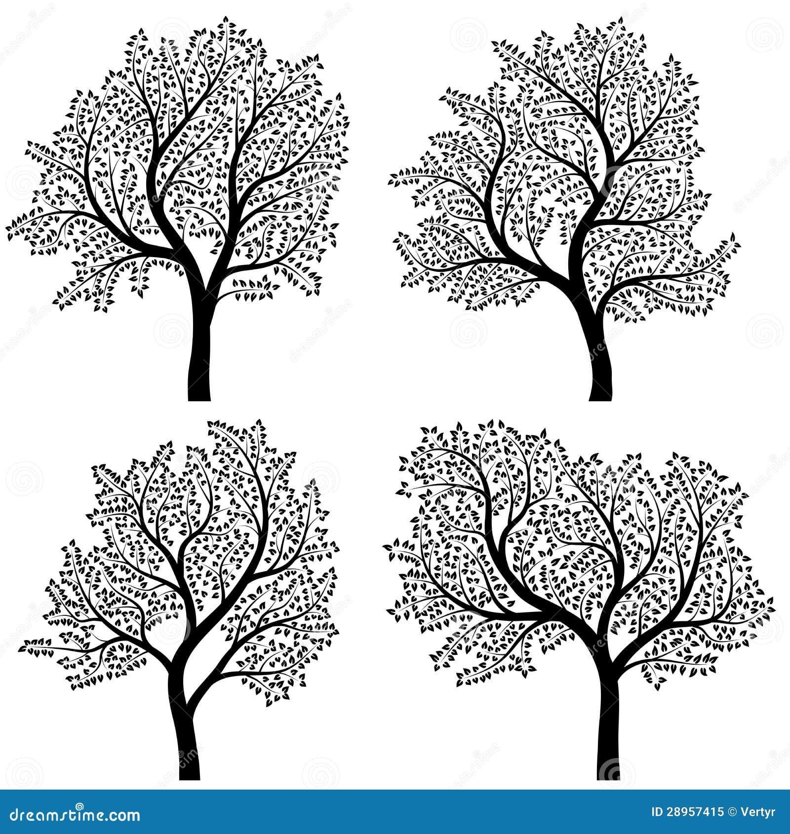Abstrakcjonistyczne sylwetki drzewa z liśćmi.