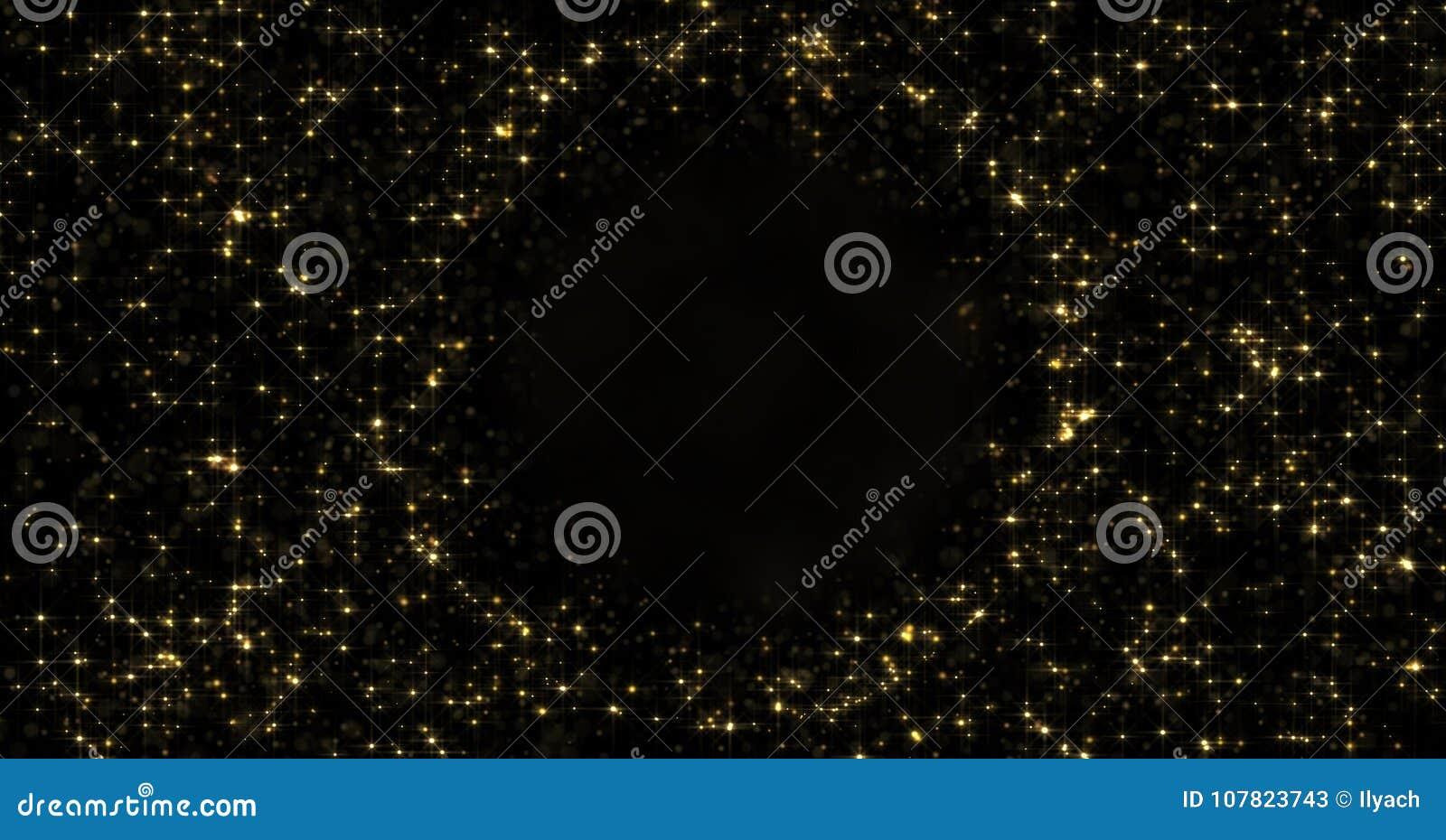 Abstrakcjonistyczne złociste cząsteczki i lśnienie grają główna rolę wokoło pustej okrąg sfery lub migocący światło Złoty lekki r