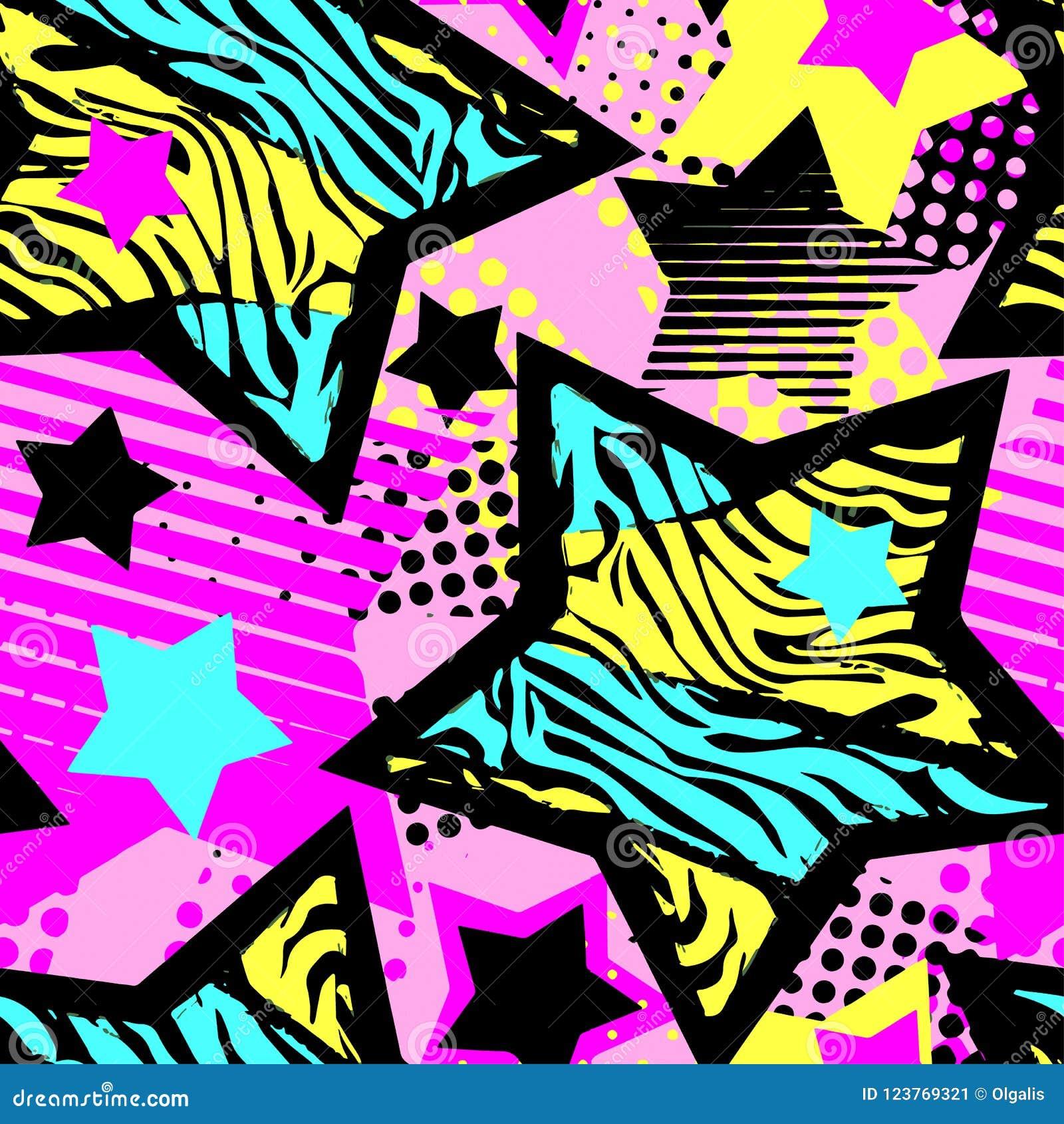 Abstrakcjonistycznego dziewczyny t-shirtl grunge bezszwowy szorstki wzór, nowożytnego projekta szablon