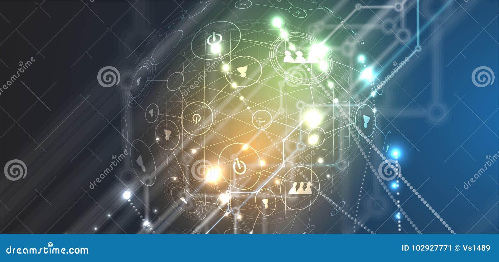 Abstrakcjonistycznego futurystycznego obwodu interneta technologii deski komputerowy b