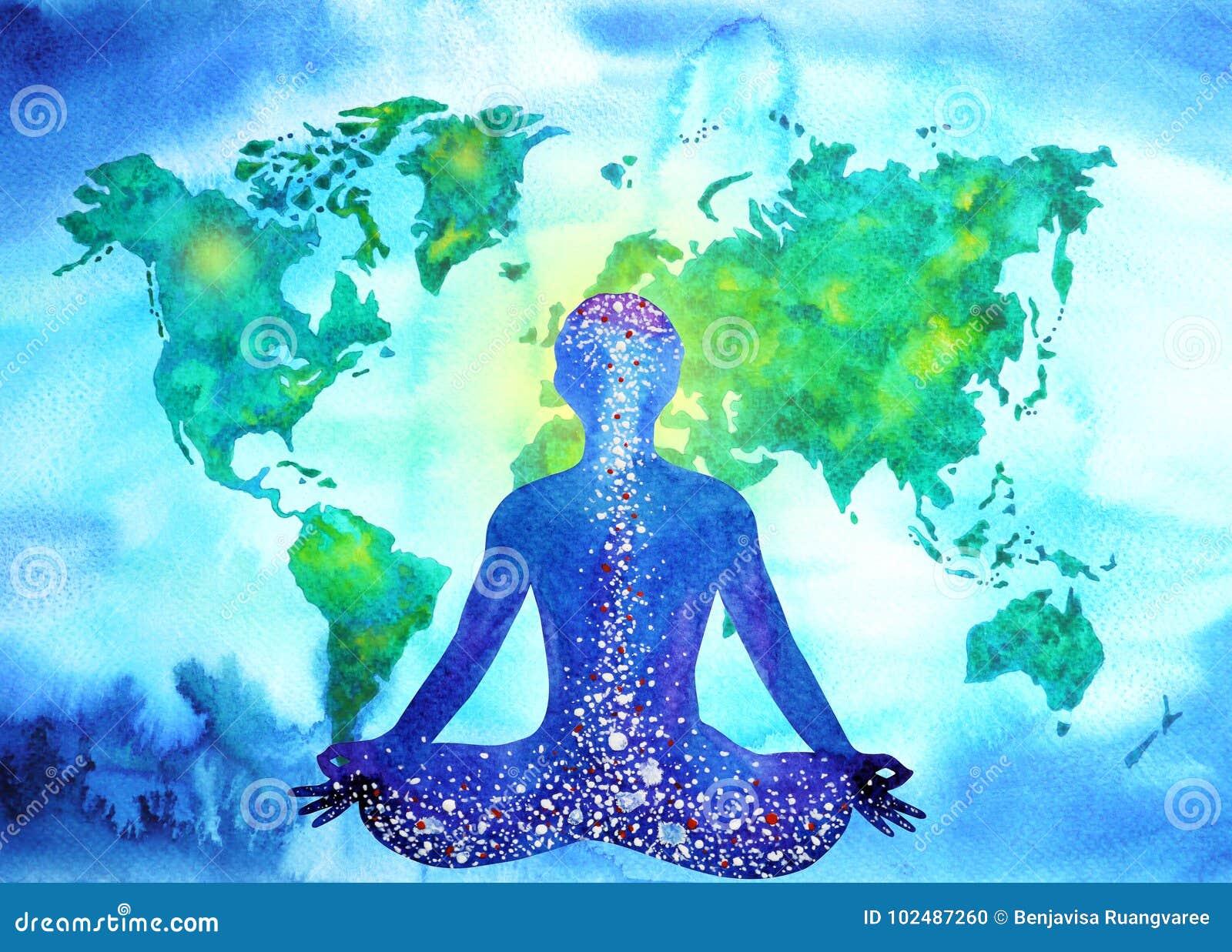 Abstrakcjonistycznego ludzkiego meditator chakra władzy światowej mapy wszechrzeczy tło