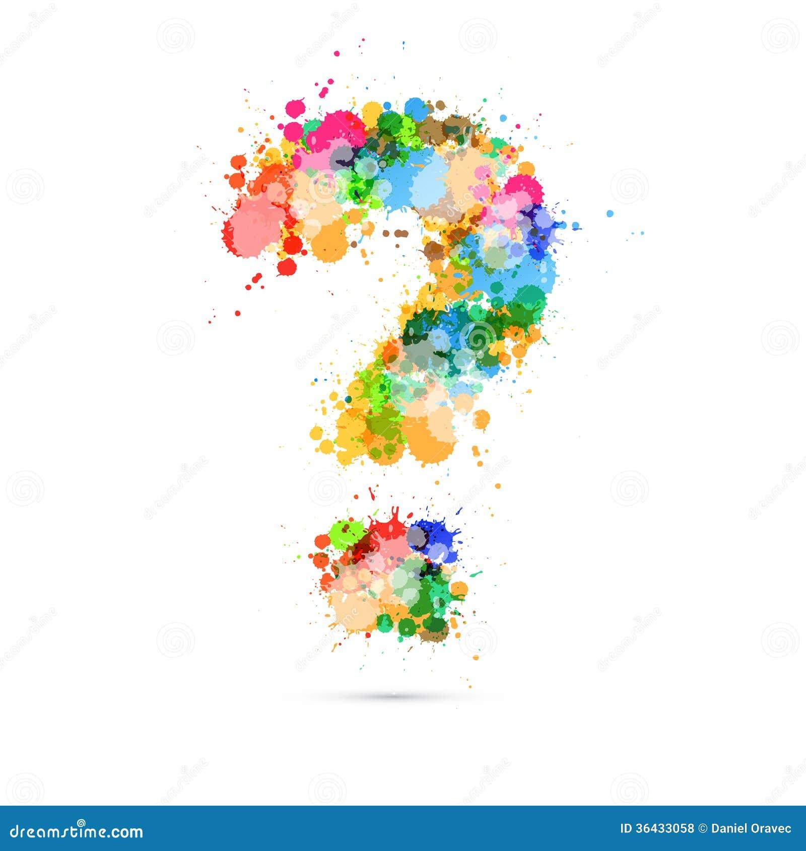 Abstrakcjonistycznego Wektorowego znaka zapytania Kolorowy symbol